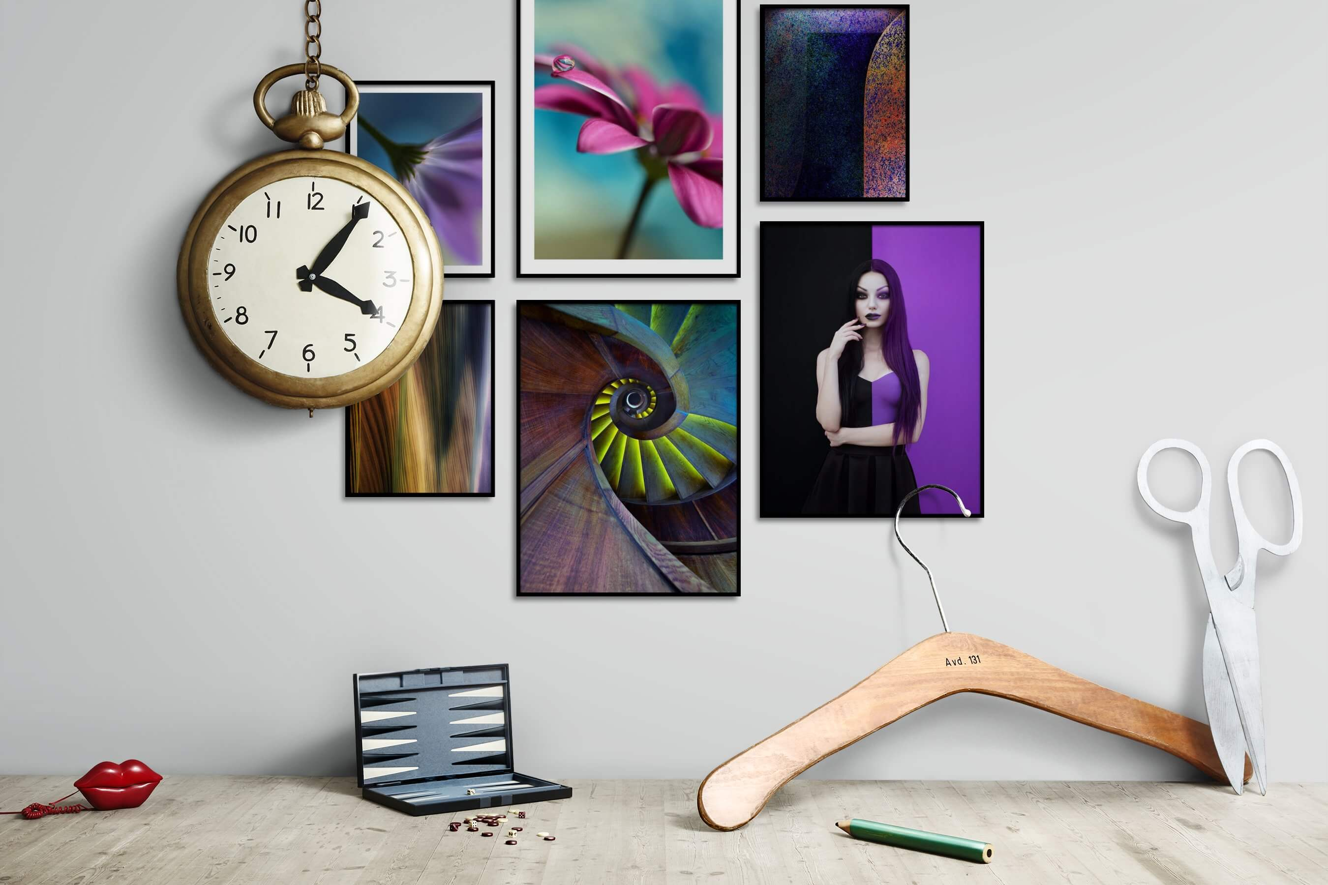 Gallery wall idea with six framed pictures arranged on a wall depicting For the Moderate, Flowers & Plants, For the Maximalist, Country Life, Colorful, and Fashion & Beauty