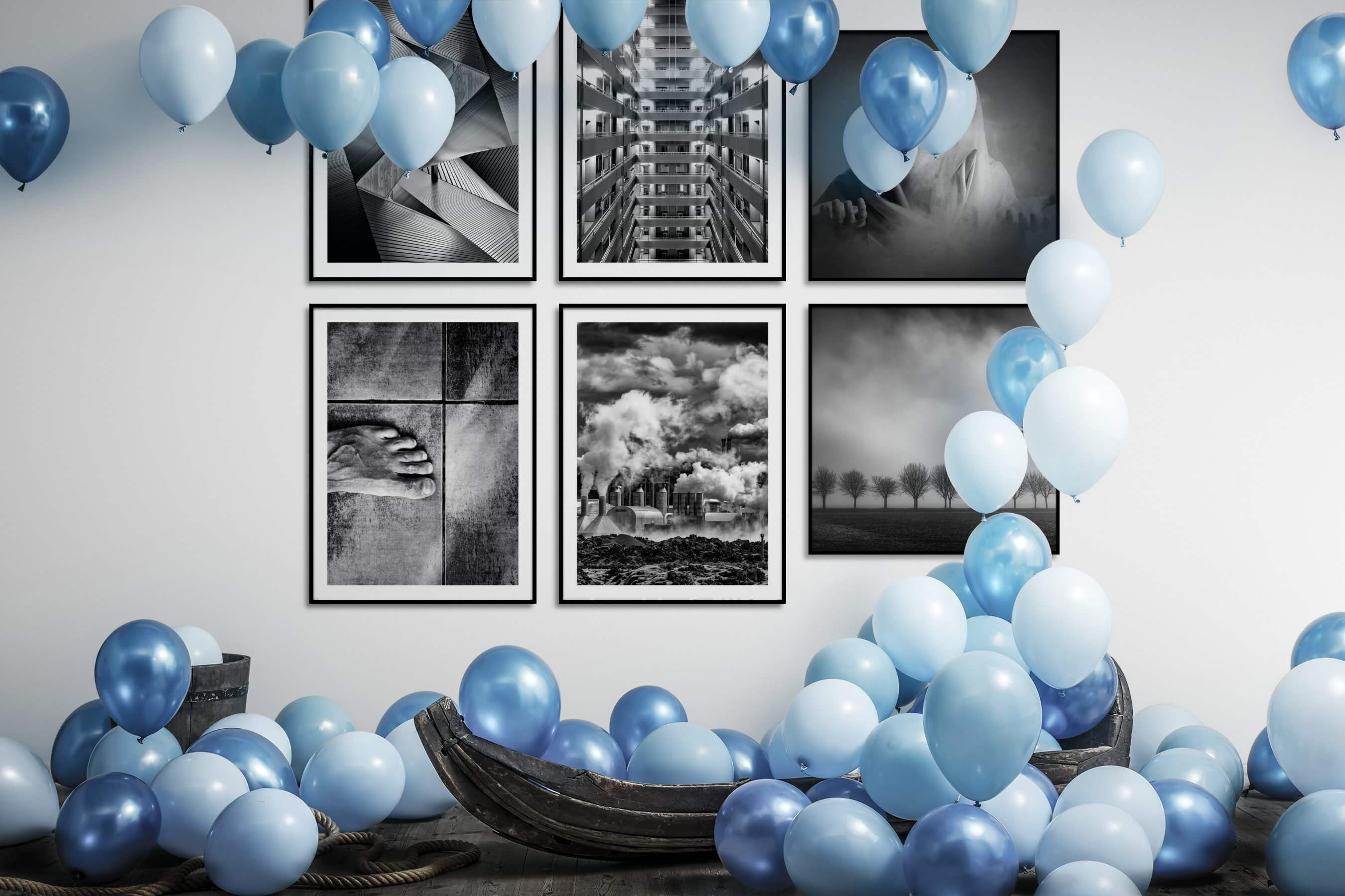 Gallery wall idea with six framed pictures arranged on a wall depicting Black & White, For the Maximalist, City Life, For the Moderate, Artsy, and Country Life