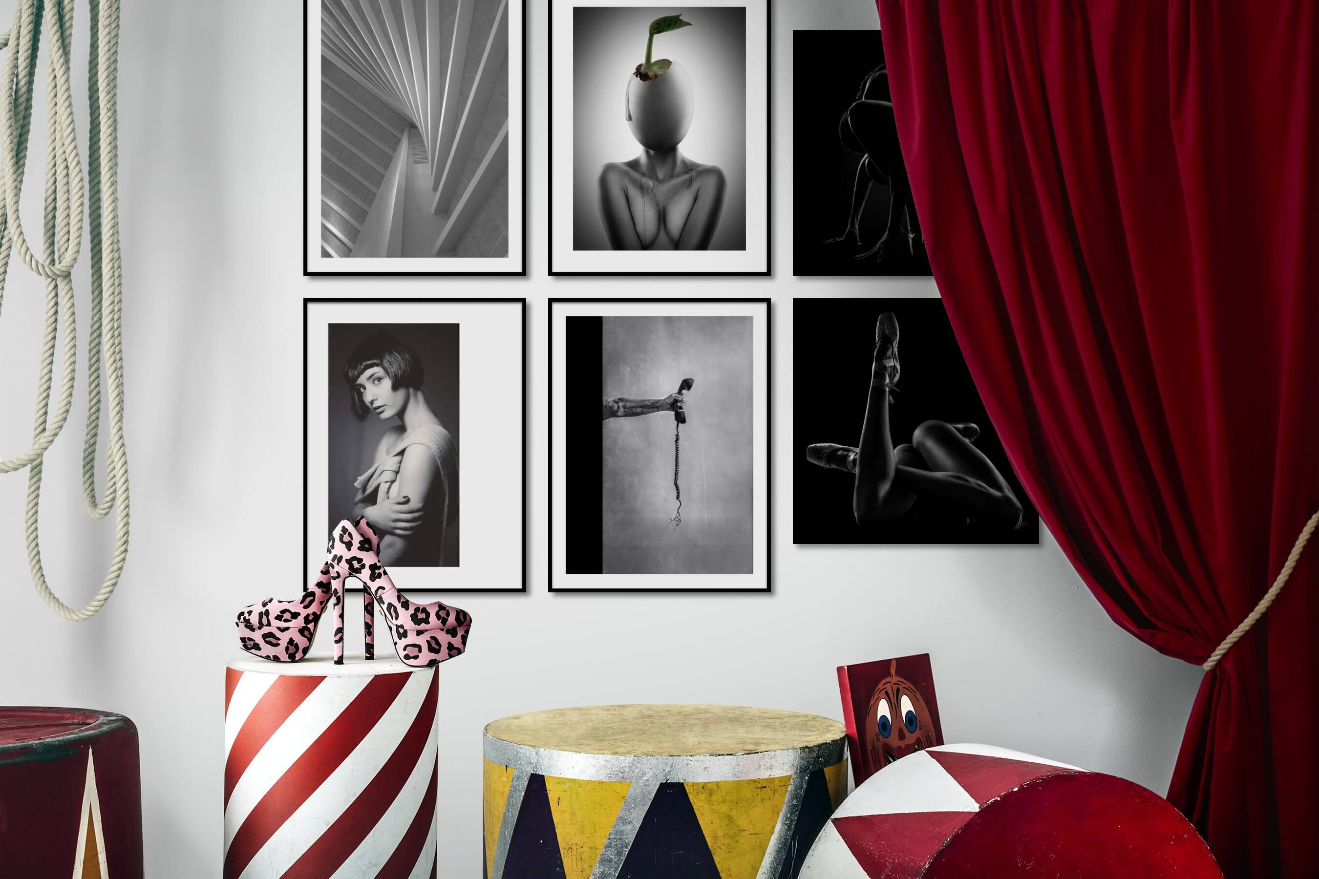 Gallery wall idea with six framed pictures arranged on a wall depicting Black & White, For the Moderate, Artsy, Fashion & Beauty, Vintage, Dark Tones, and For the Minimalist