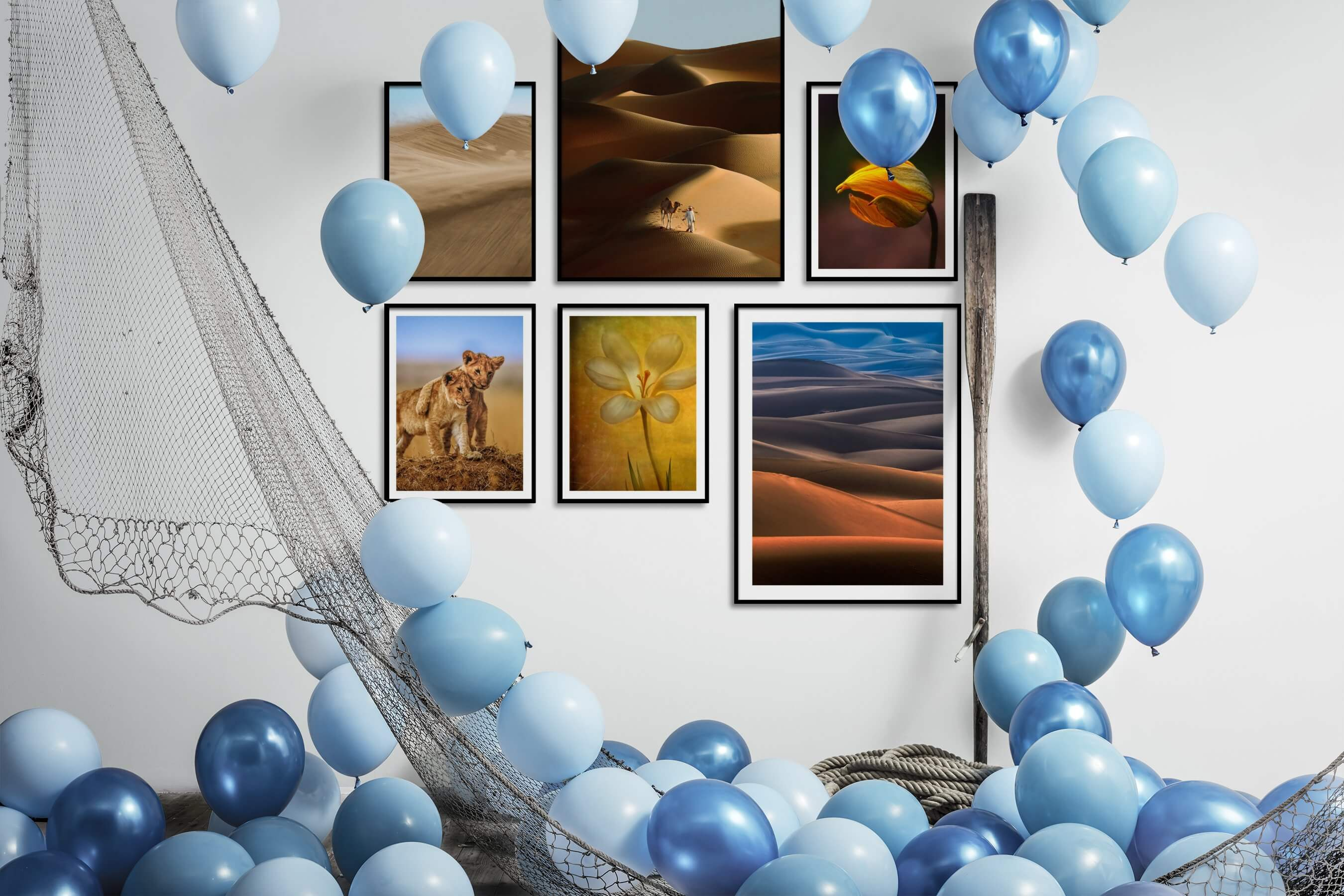 Gallery wall idea with six framed pictures arranged on a wall depicting For the Moderate, Nature, Animals, Flowers & Plants, and Vintage