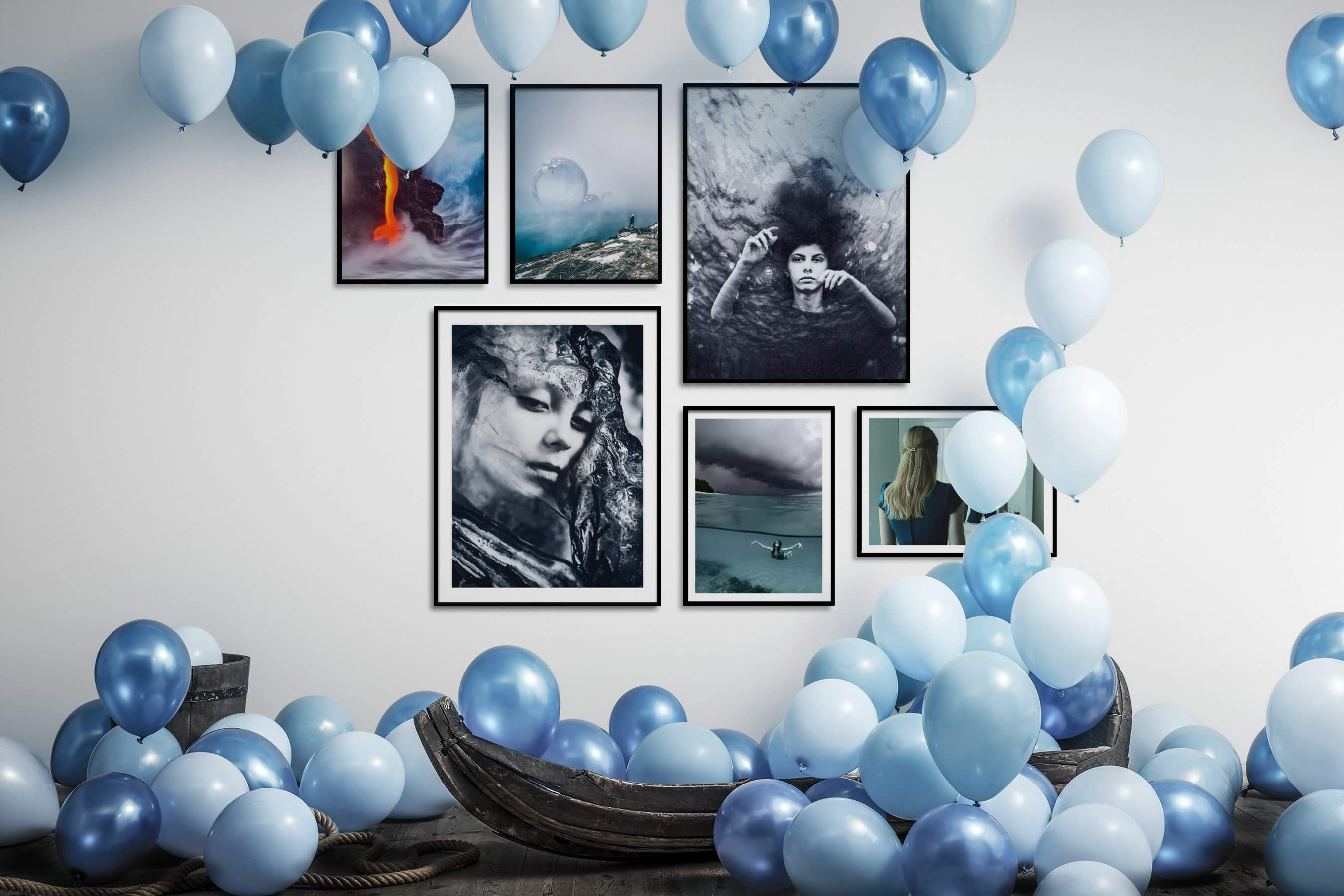 Gallery wall idea with six framed pictures arranged on a wall depicting Nature, Artsy, For the Moderate, Mindfulness, Black & White, Beach & Water, and Vintage