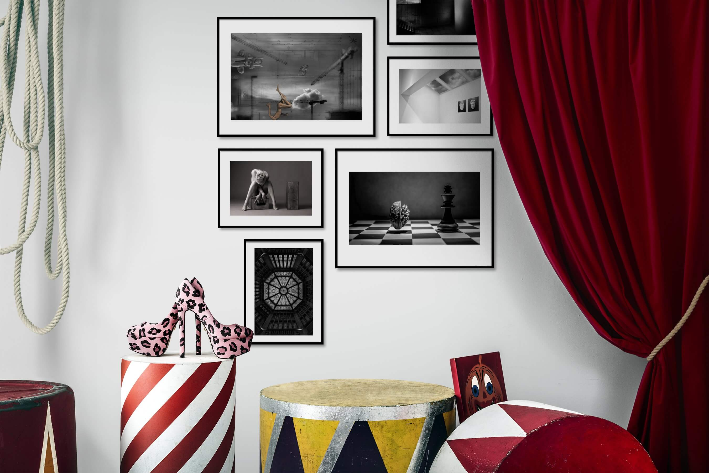 Gallery wall idea with six framed pictures arranged on a wall depicting Artsy, Black & White, For the Minimalist, For the Maximalist, Vintage, and For the Moderate