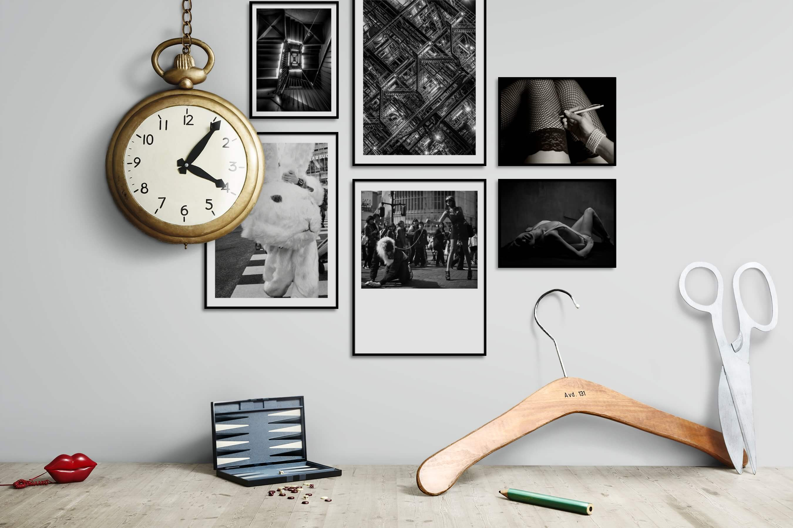 Gallery wall idea with six framed pictures arranged on a wall depicting Black & White, For the Maximalist, Artsy, City Life, and Fashion & Beauty