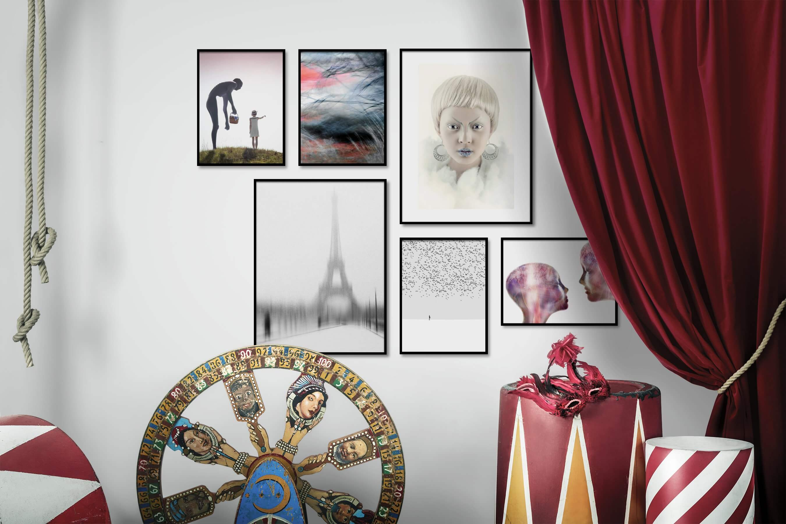 Gallery wall idea with six framed pictures arranged on a wall depicting Artsy, Country Life, For the Maximalist, Nature, Black & White, Bright Tones, For the Minimalist, City Life, Fashion & Beauty, Animals, and Mindfulness