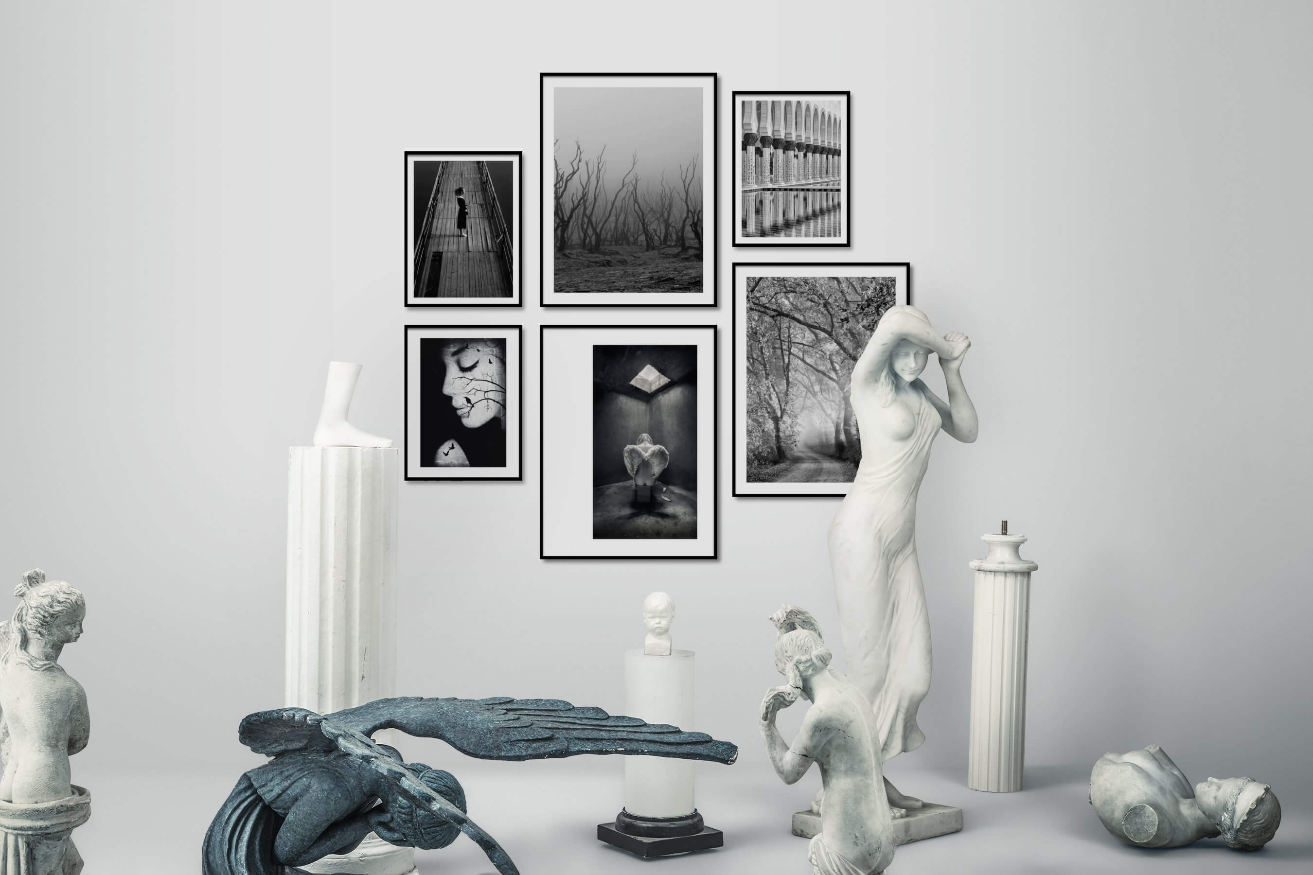 Gallery wall idea with six framed pictures arranged on a wall depicting Fashion & Beauty, Black & White, Mindfulness, Nature, Artsy, and For the Maximalist