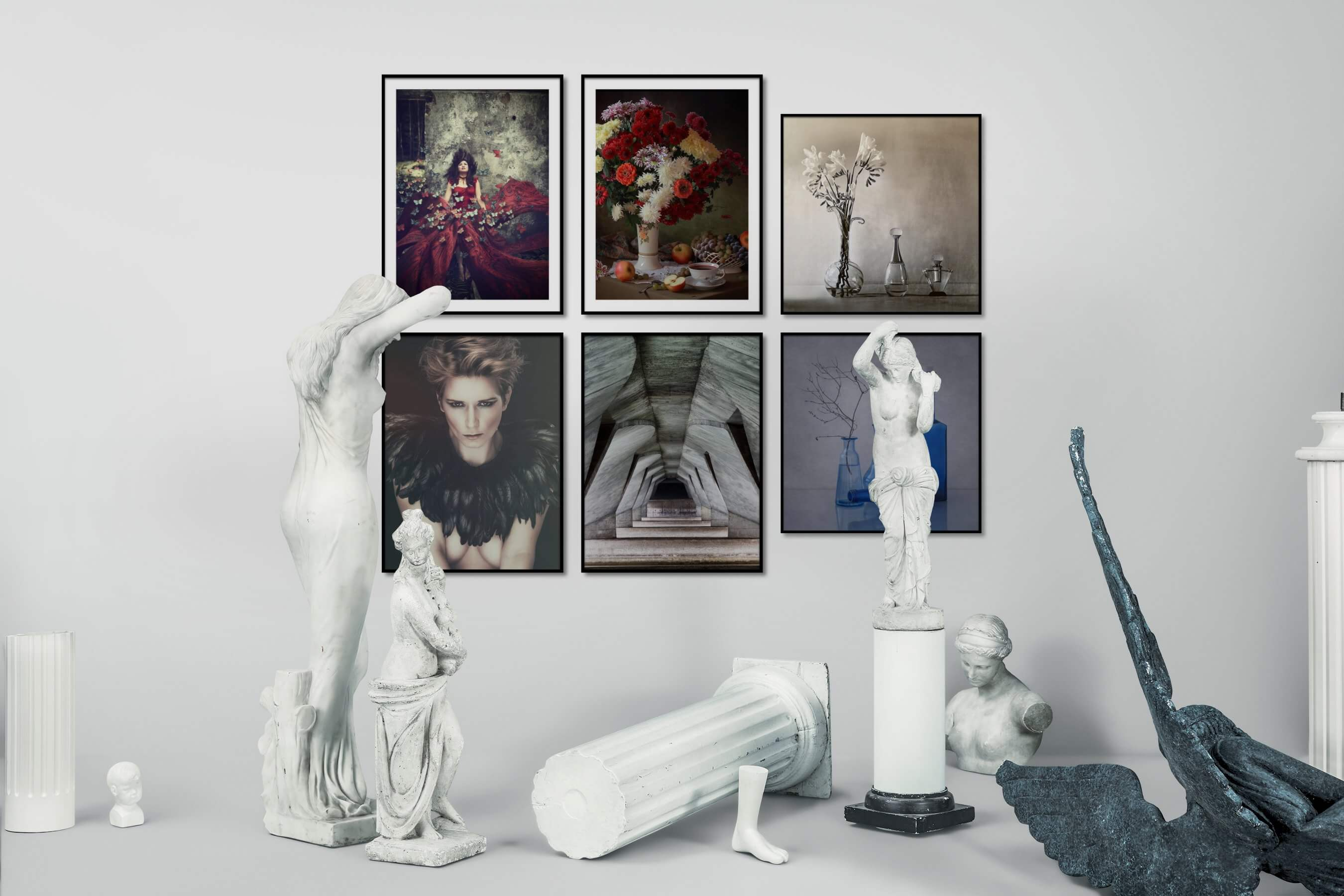 Gallery wall idea with six framed pictures arranged on a wall depicting Fashion & Beauty, Flowers & Plants, Vintage, For the Maximalist, and For the Moderate