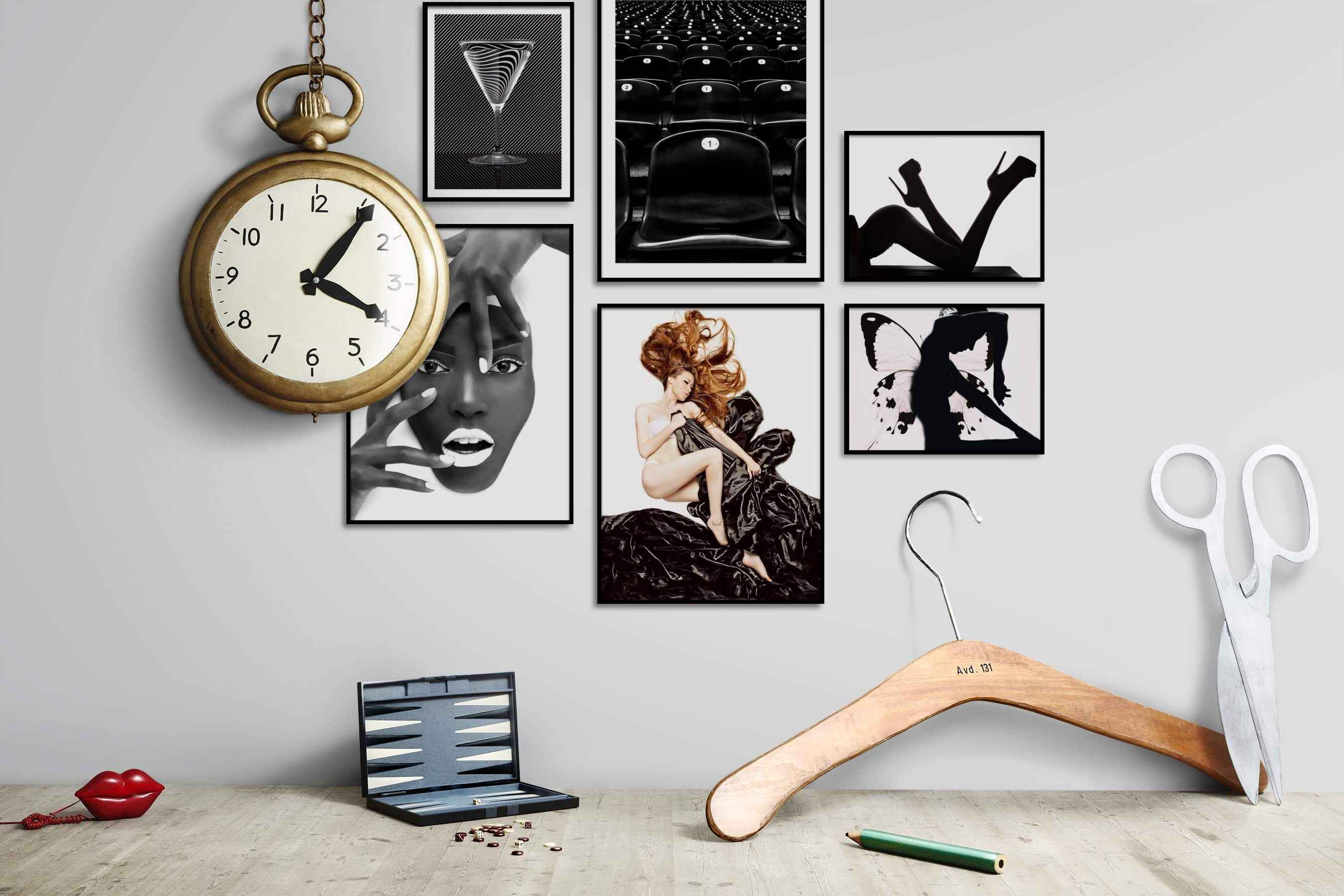 Gallery wall idea with six framed pictures arranged on a wall depicting Black & White, For the Maximalist, Fashion & Beauty, Bright Tones, For the Moderate, and For the Minimalist