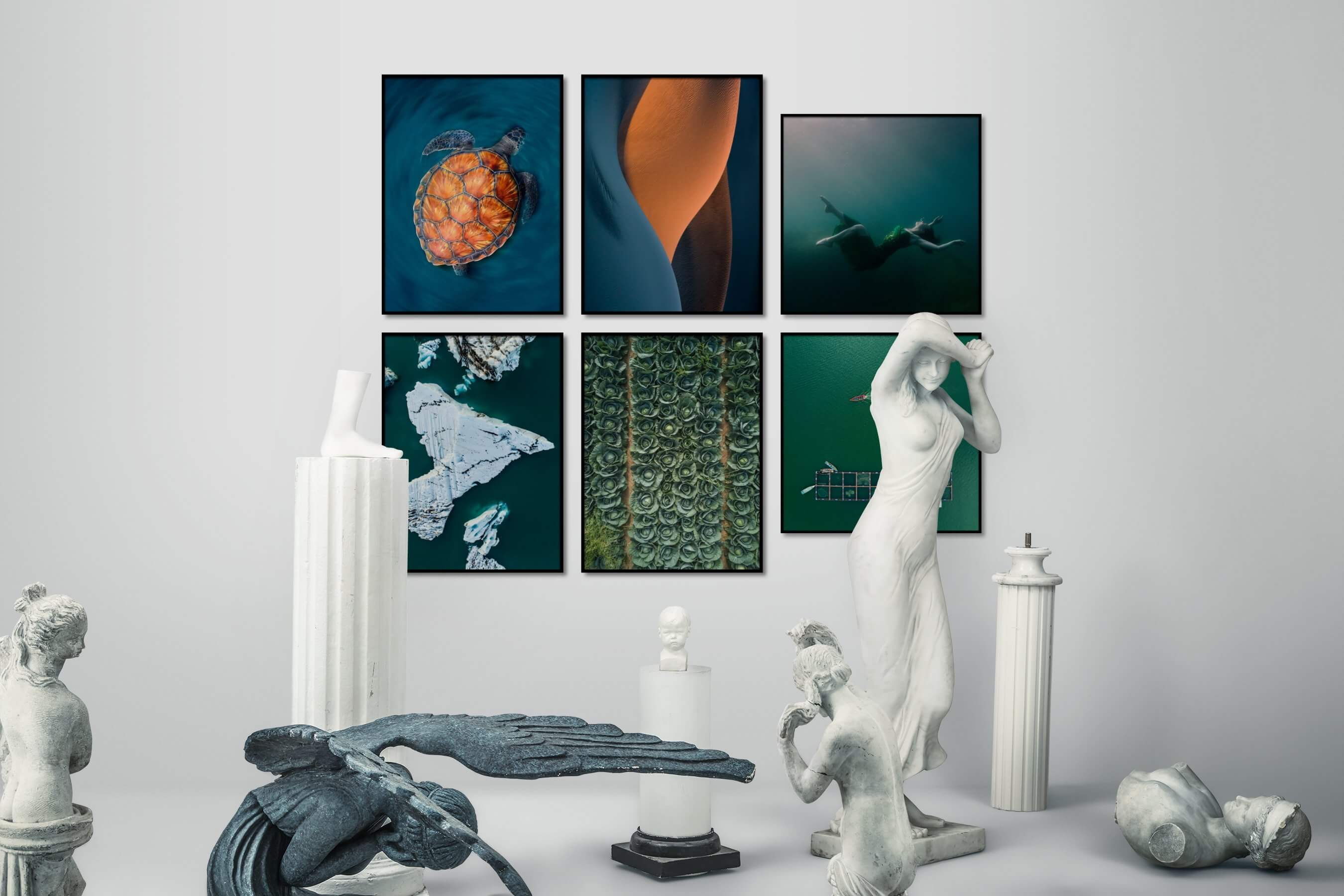 Gallery wall idea with six framed pictures arranged on a wall depicting Animals, For the Minimalist, Nature, For the Moderate, For the Maximalist, Country Life, Fashion & Beauty, and Beach & Water