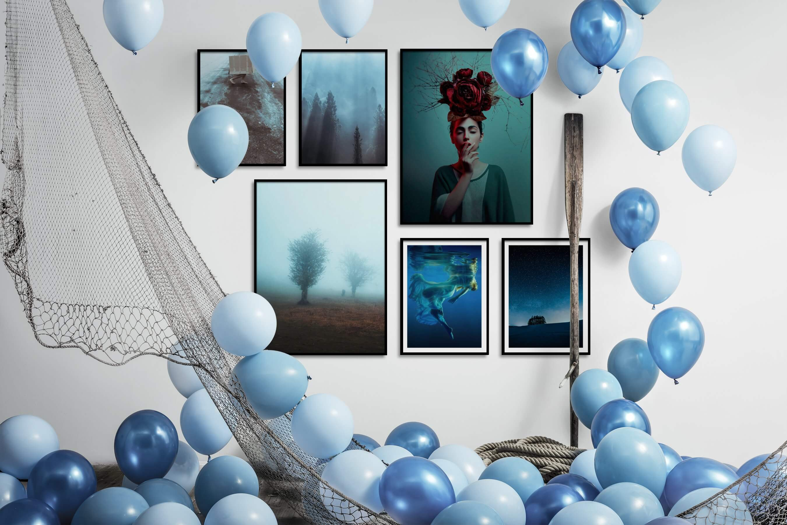 Gallery wall idea with six framed pictures arranged on a wall depicting Artsy, Nature, Mindfulness, Country Life, Fashion & Beauty, Beach & Water, and Dark Tones