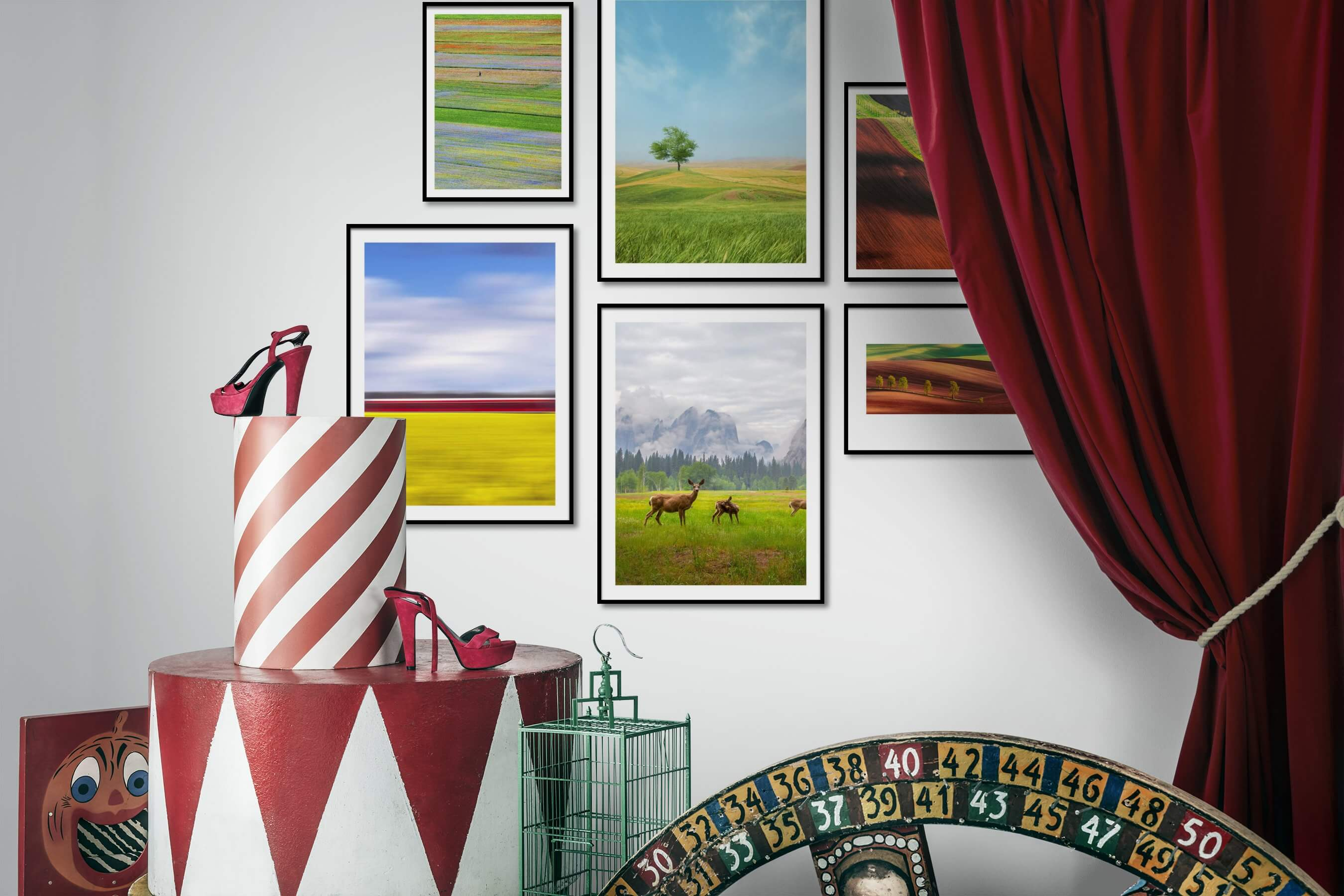 Gallery wall idea with six framed pictures arranged on a wall depicting For the Minimalist, Country Life, Mindfulness, and Animals