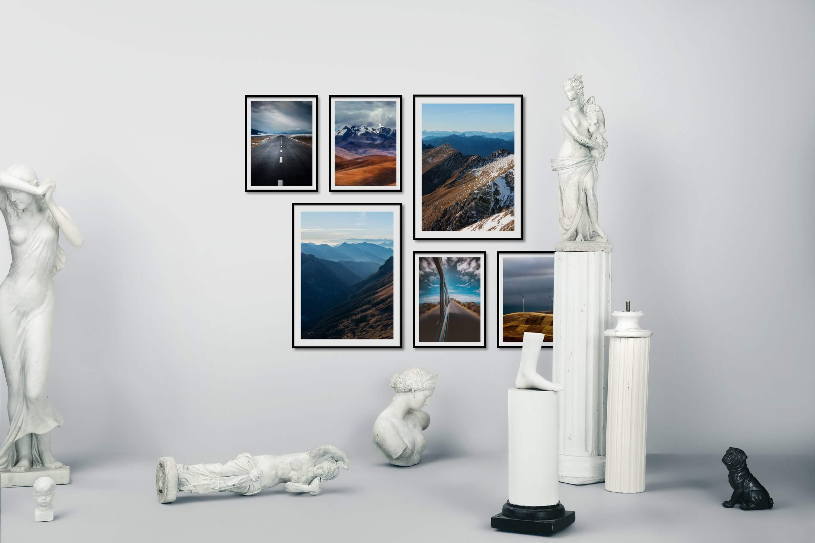 Gallery wall idea with six framed pictures arranged on a wall depicting Country Life, Mindfulness, and Nature