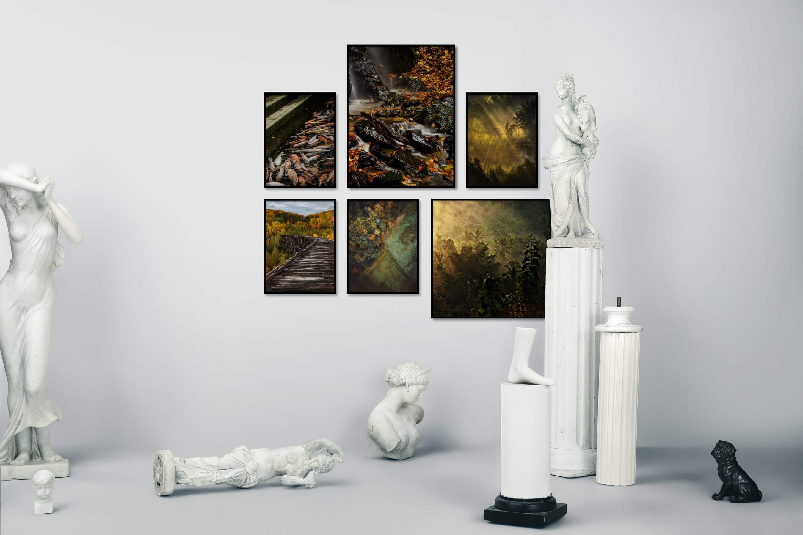 Gallery wall idea with six framed pictures arranged on a wall depicting Animals, Nature, For the Moderate, Country Life, and Mindfulness