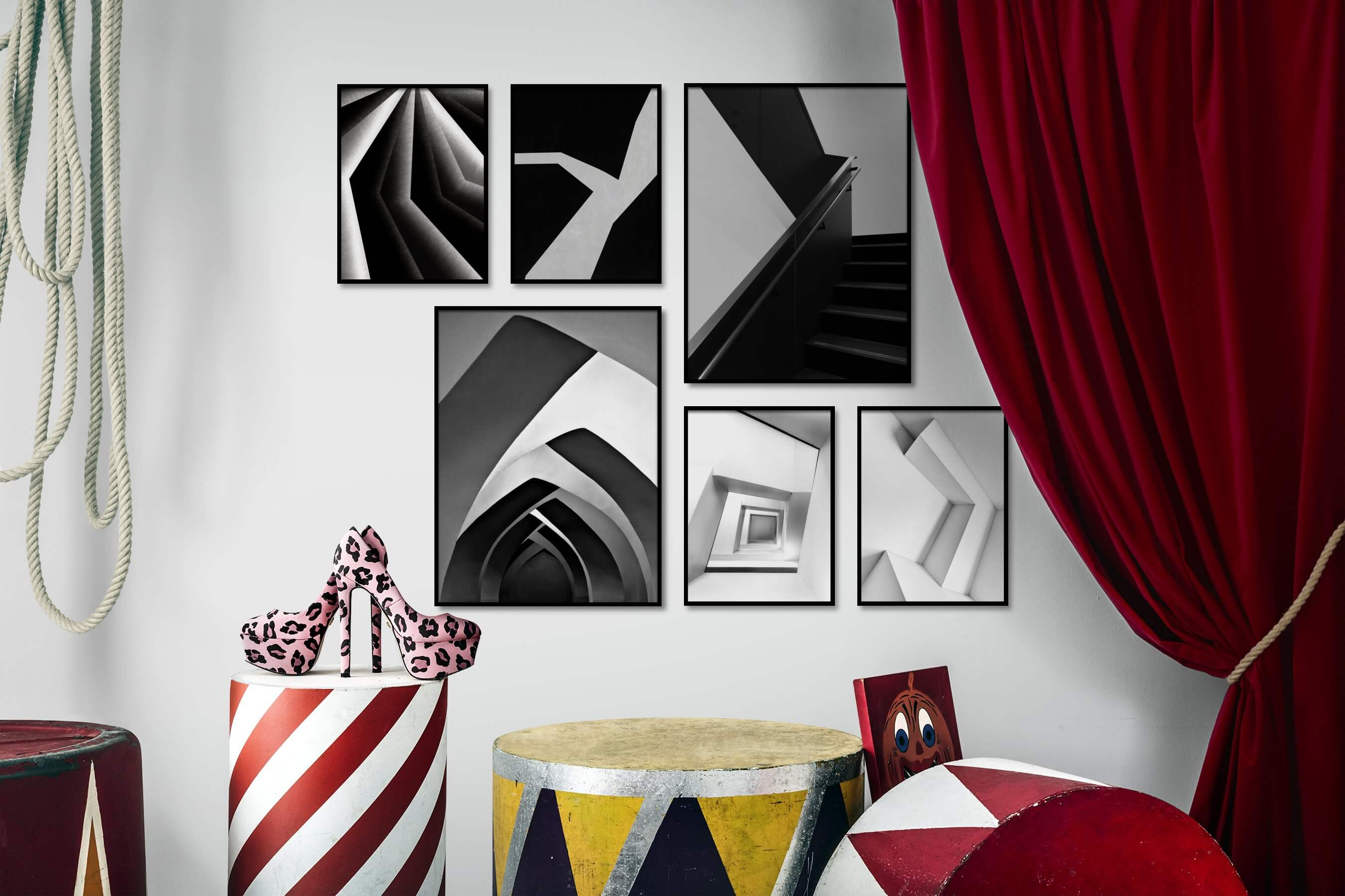 Gallery wall idea with six framed pictures arranged on a wall depicting Black & White, For the Moderate, Dark Tones, and For the Minimalist