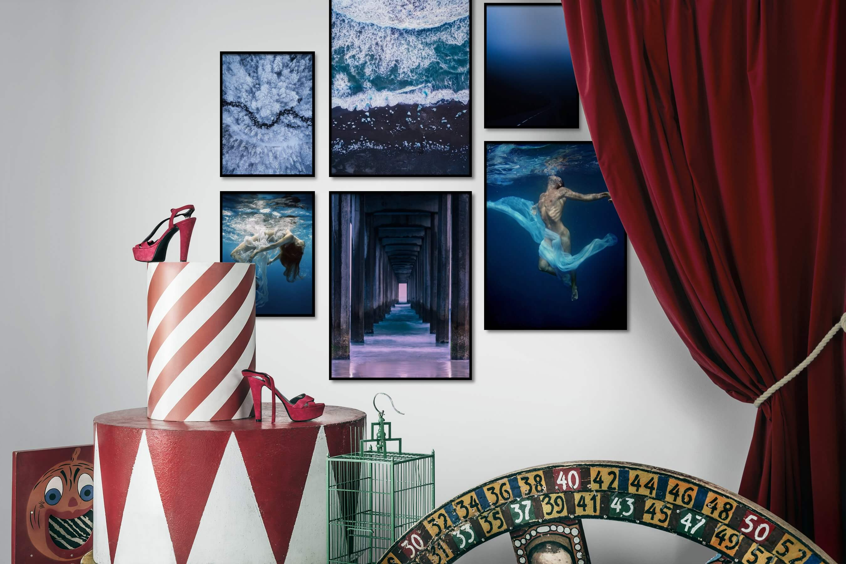Gallery wall idea with six framed pictures arranged on a wall depicting For the Moderate, Nature, Beach & Water, Fashion & Beauty, For the Minimalist, and Country Life