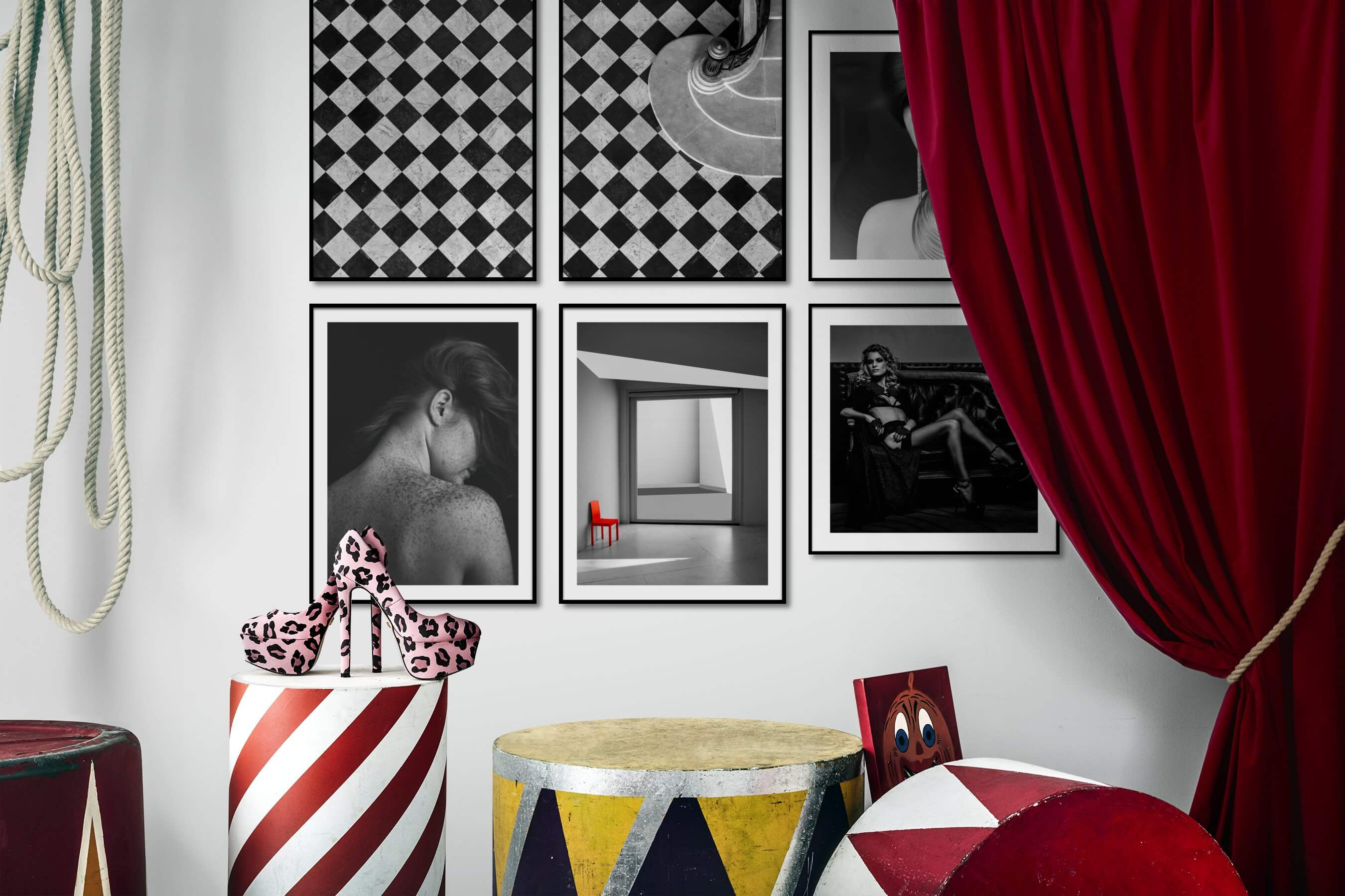 Gallery wall idea with six framed pictures arranged on a wall depicting Black & White, For the Maximalist, Fashion & Beauty, For the Moderate, and Vintage