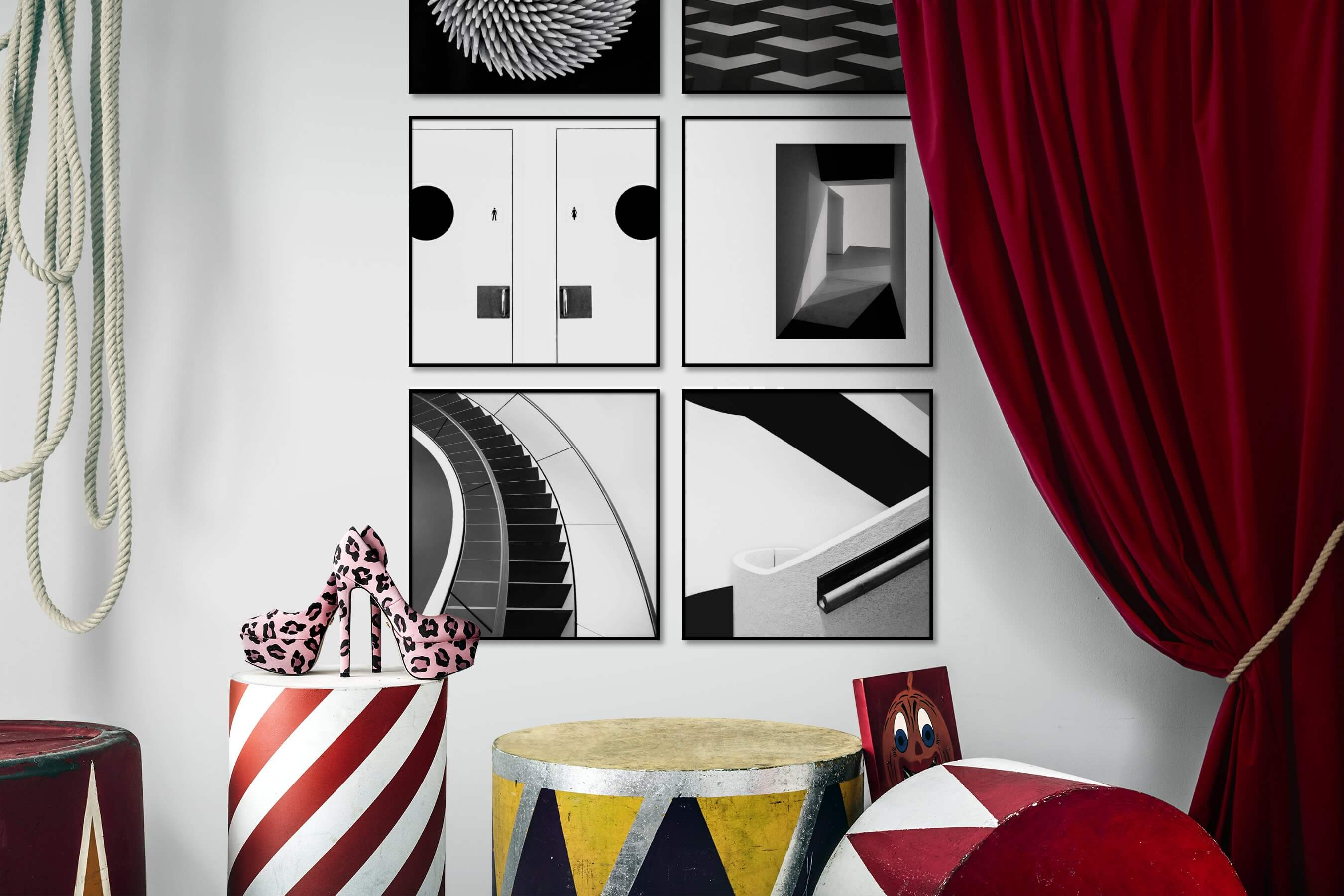 Gallery wall idea with six framed pictures arranged on a wall depicting Black & White, For the Moderate, Bright Tones, and For the Minimalist