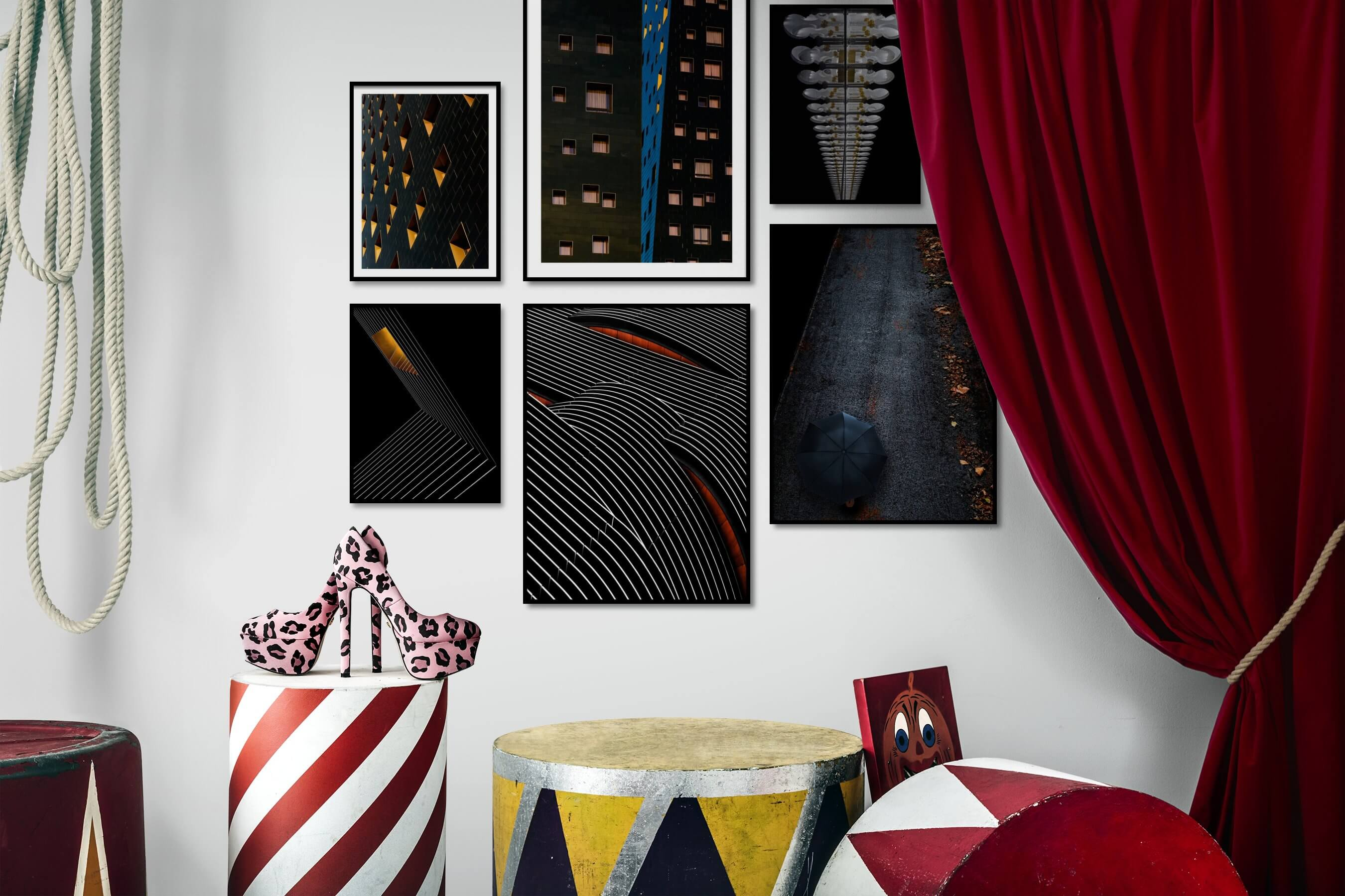 Gallery wall idea with six framed pictures arranged on a wall depicting For the Moderate, City Life, Dark Tones, For the Minimalist, and For the Maximalist