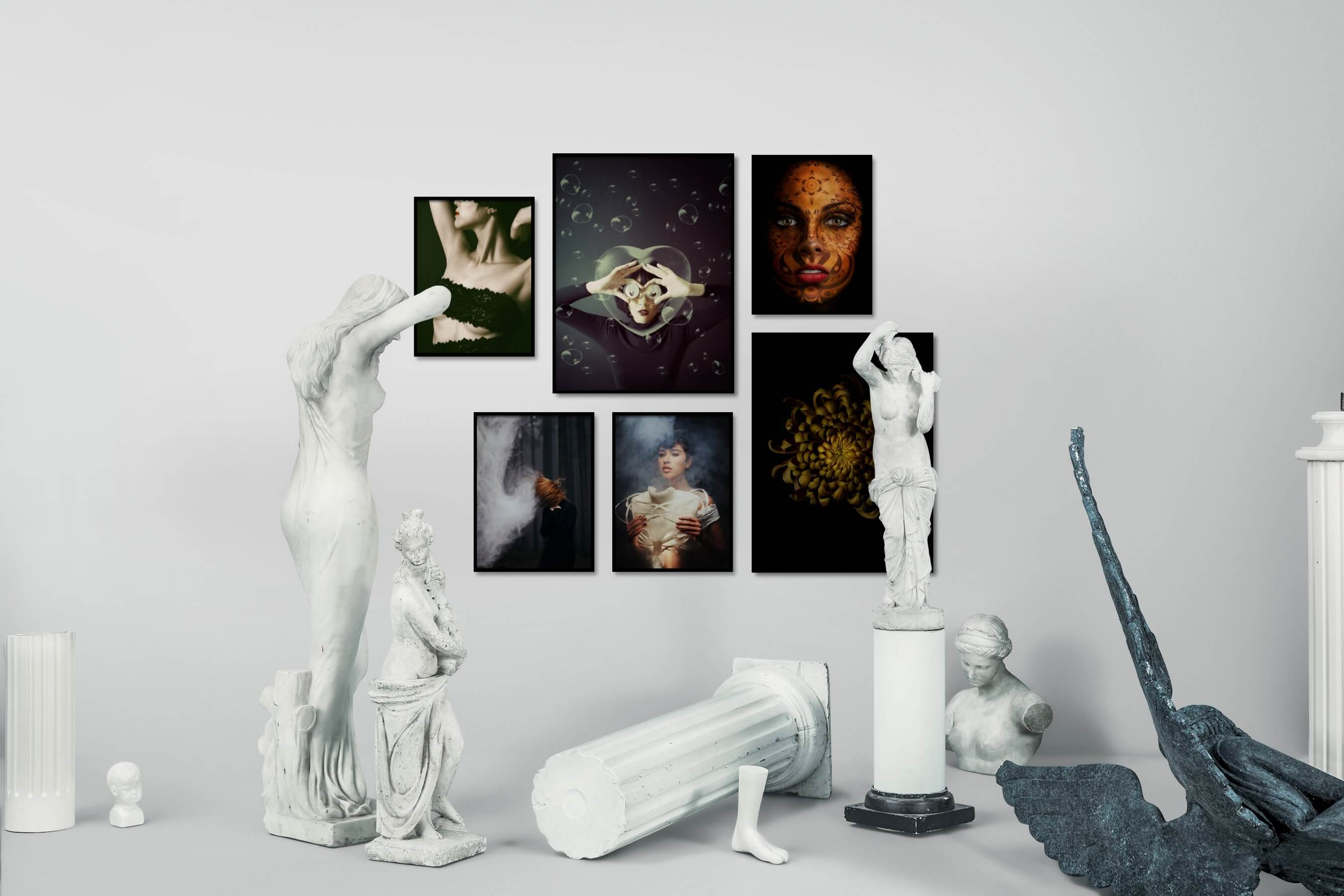 Gallery wall idea with six framed pictures arranged on a wall depicting Fashion & Beauty, Artsy, For the Moderate, Dark Tones, For the Minimalist, and Flowers & Plants