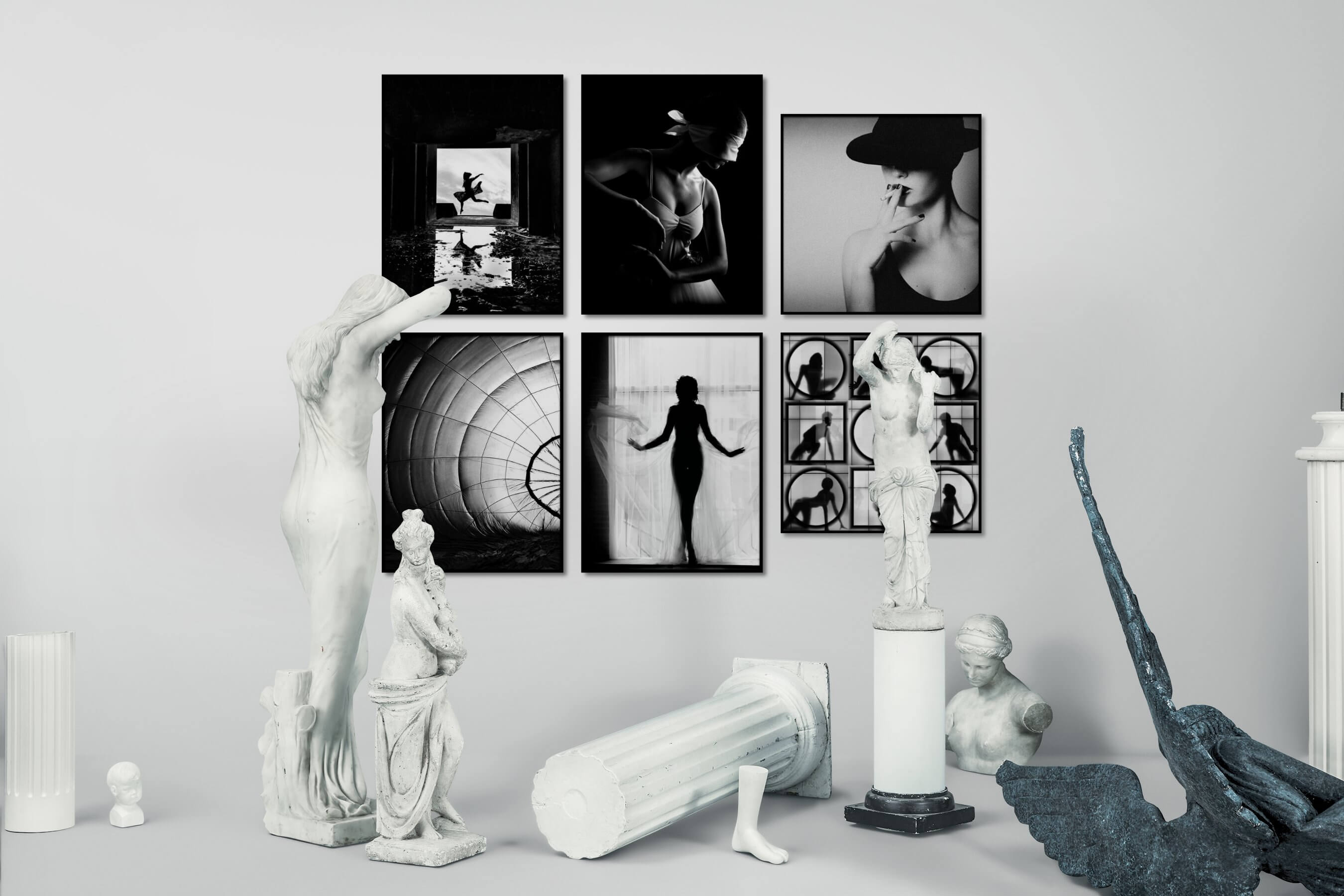 Gallery wall idea with six framed pictures arranged on a wall depicting Fashion & Beauty, Black & White, Dark Tones, Mindfulness, For the Moderate, Artsy, and For the Maximalist