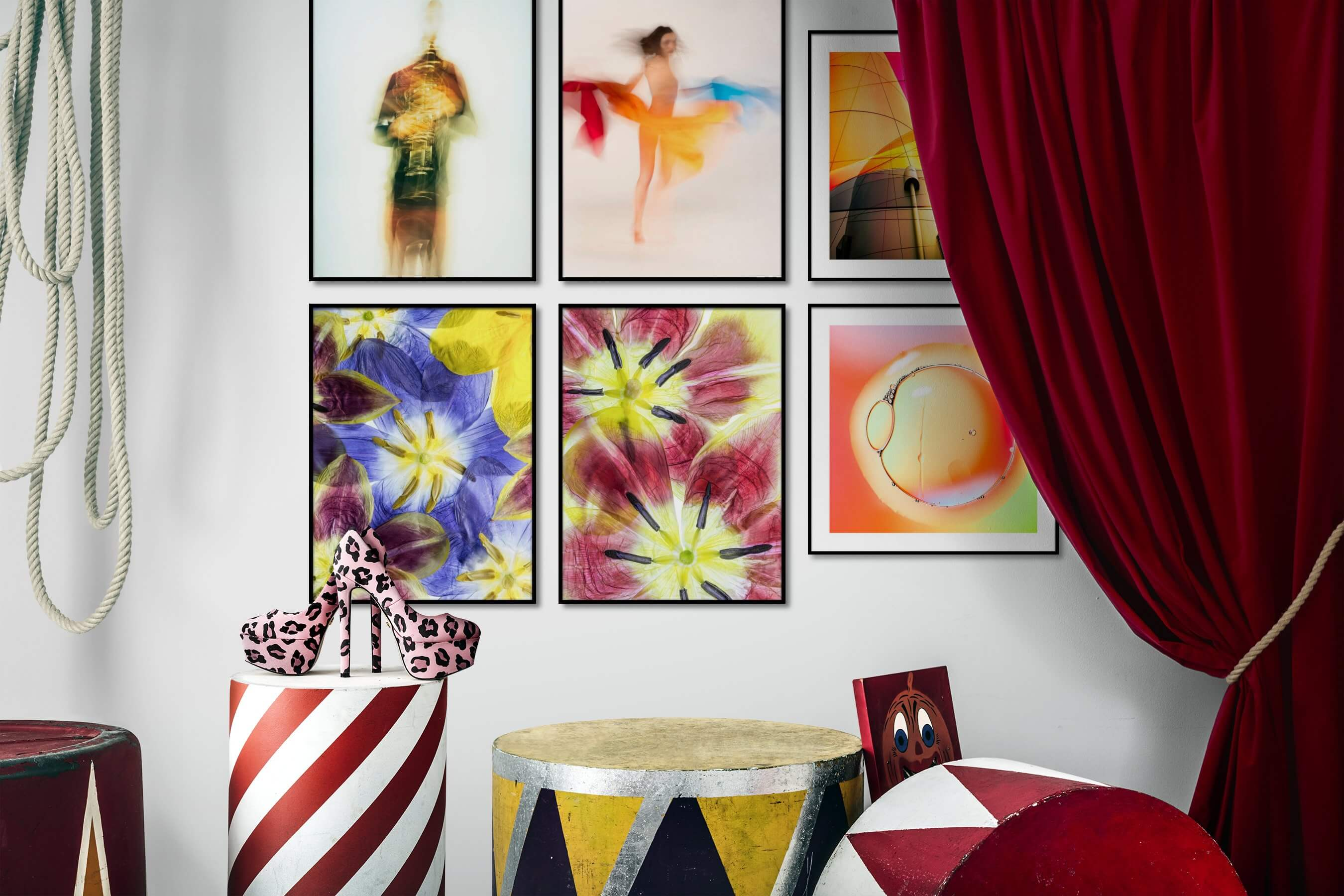 Gallery wall idea with six framed pictures arranged on a wall depicting For the Minimalist, Fashion & Beauty, Colorful, For the Moderate, Flowers & Plants, For the Maximalist, and City Life