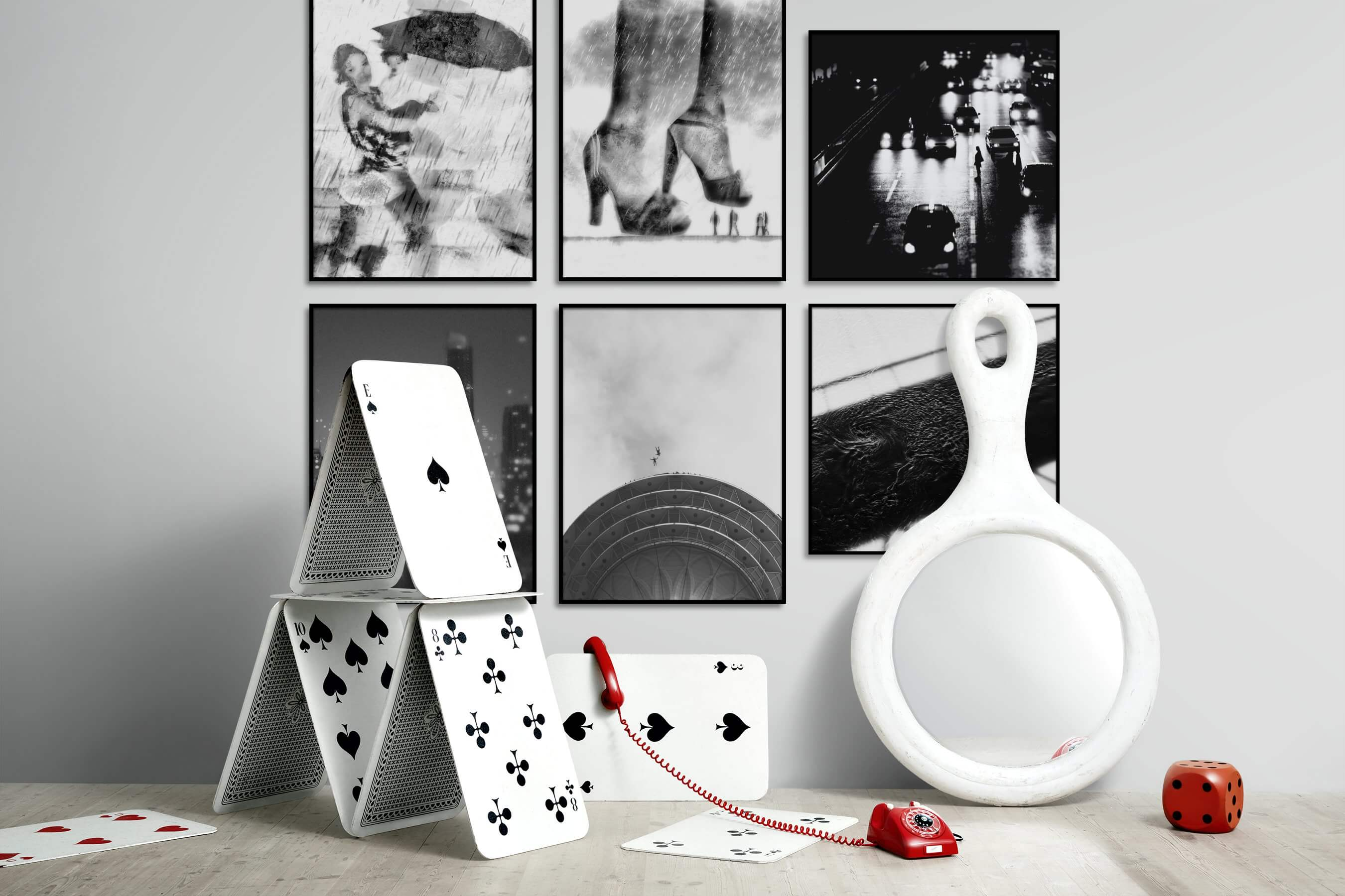 Gallery wall idea with six framed pictures arranged on a wall depicting Artsy, Black & White, Fashion & Beauty, For the Moderate, City Life, and For the Minimalist