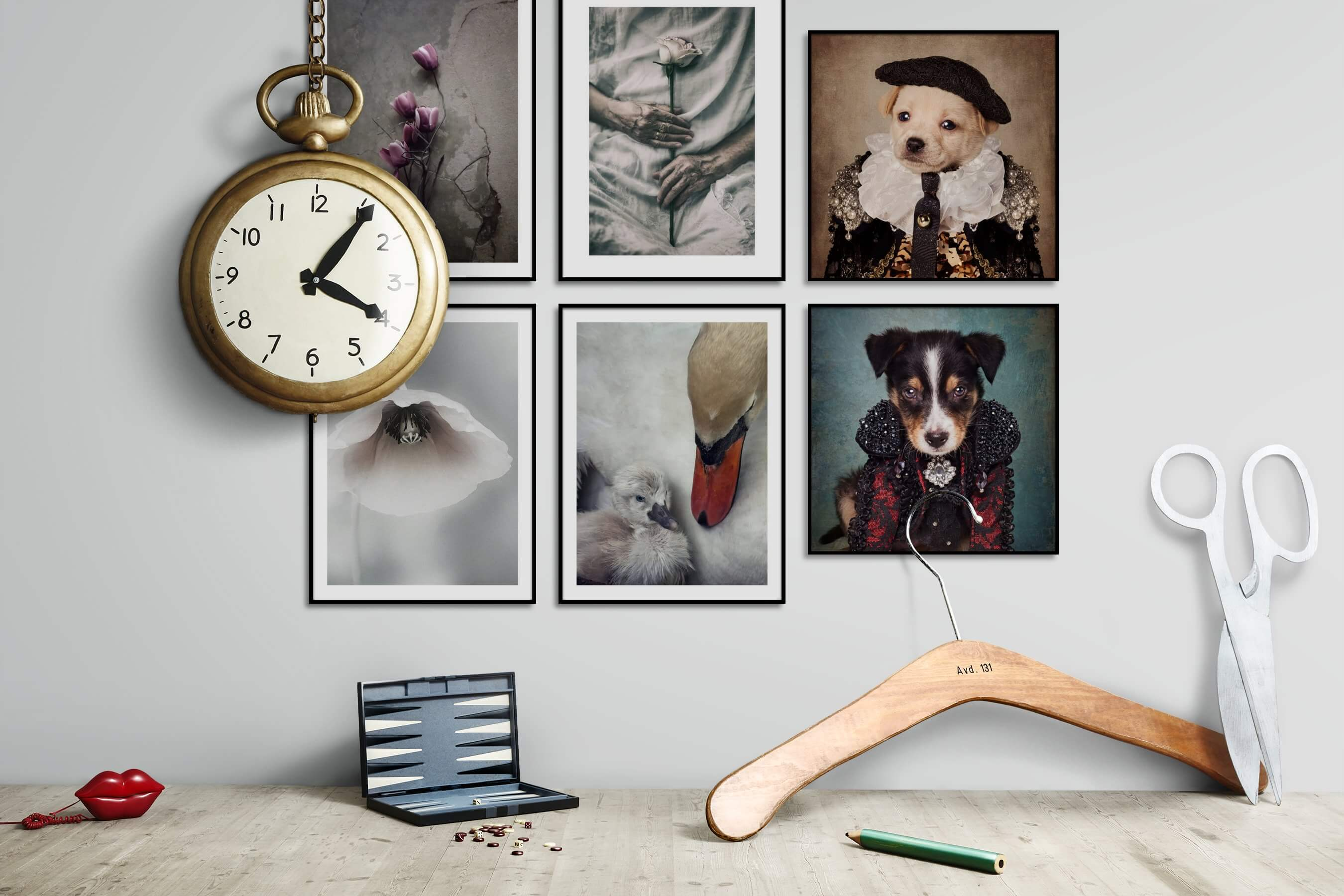 Gallery wall idea with six framed pictures arranged on a wall depicting Flowers & Plants, Artsy, For the Minimalist, Animals, and Vintage