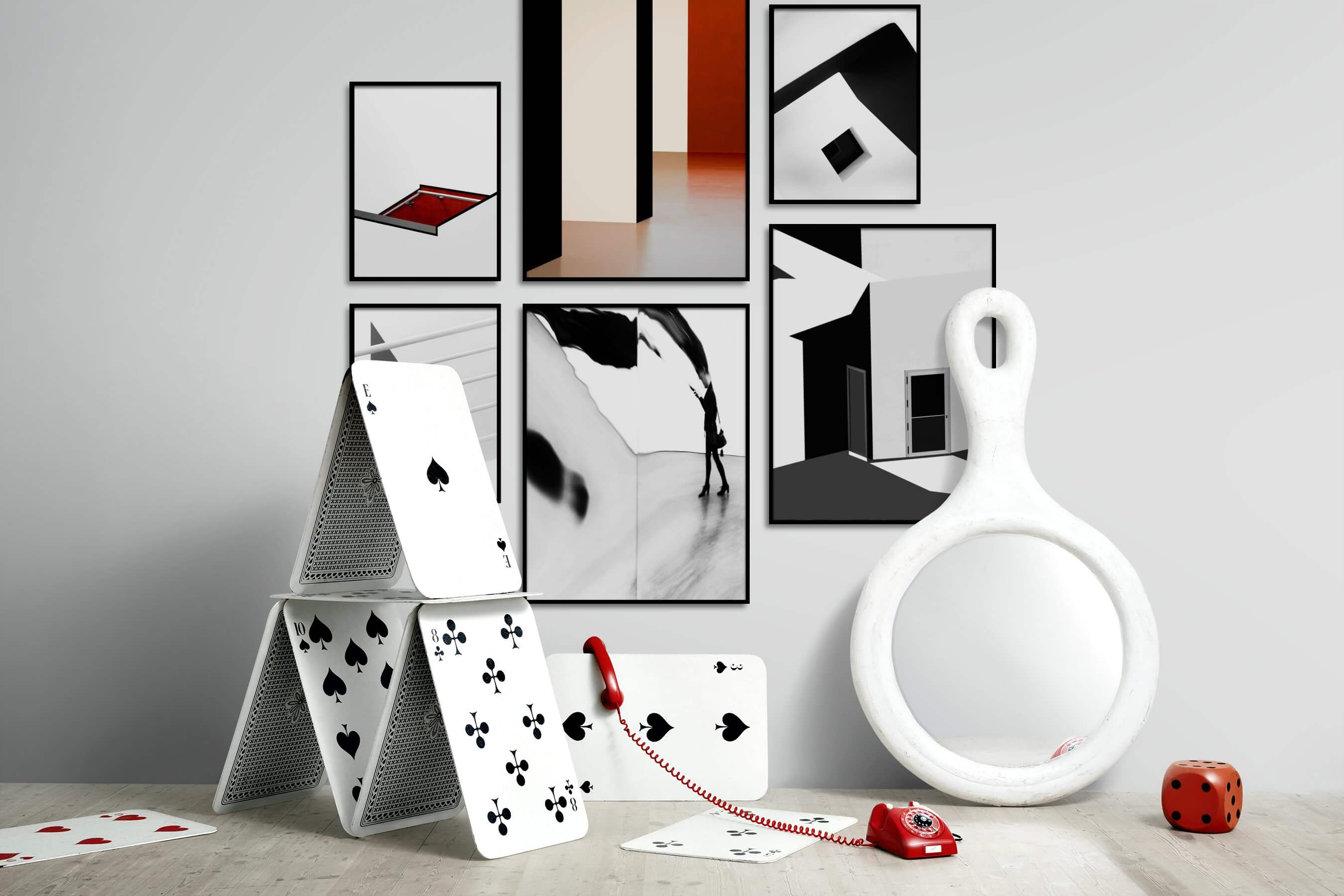 Gallery wall idea with six framed pictures arranged on a wall depicting Bright Tones, For the Minimalist, Black & White, For the Moderate, and Artsy