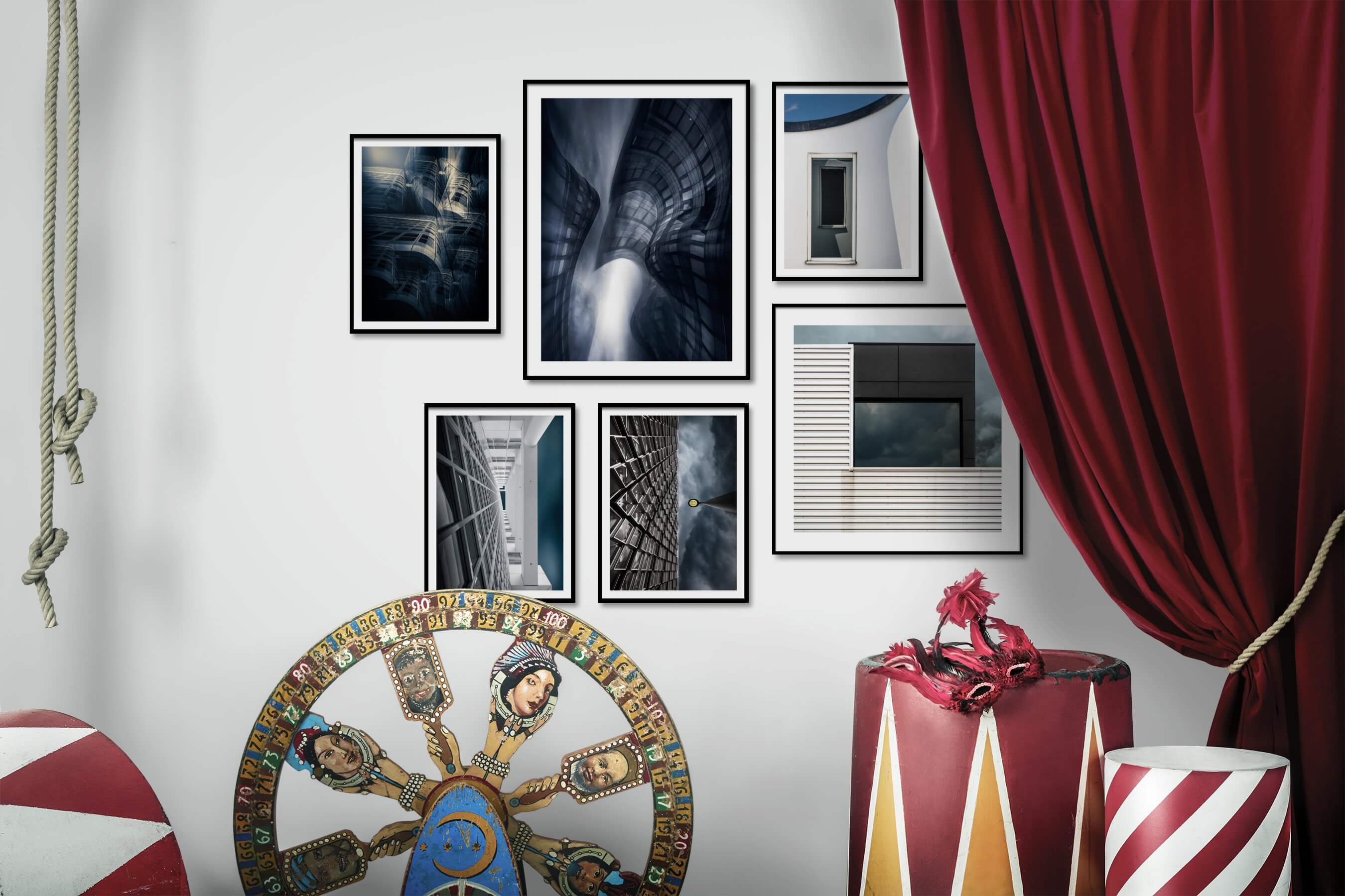 Gallery wall idea with six framed pictures arranged on a wall depicting For the Maximalist, For the Moderate, and City Life