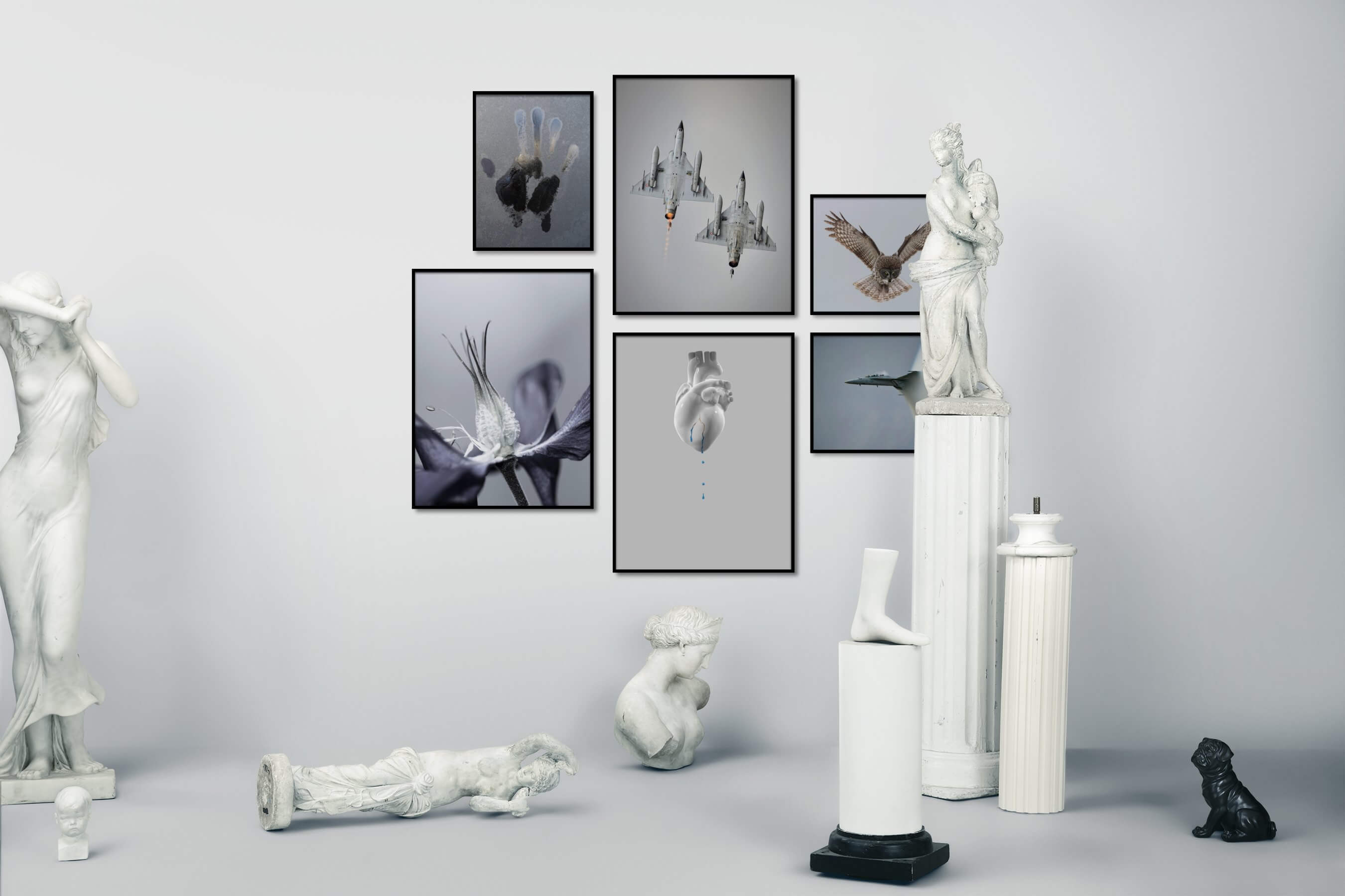 Gallery wall idea with six framed pictures arranged on a wall depicting For the Minimalist, Flowers & Plants, Artsy, and Animals