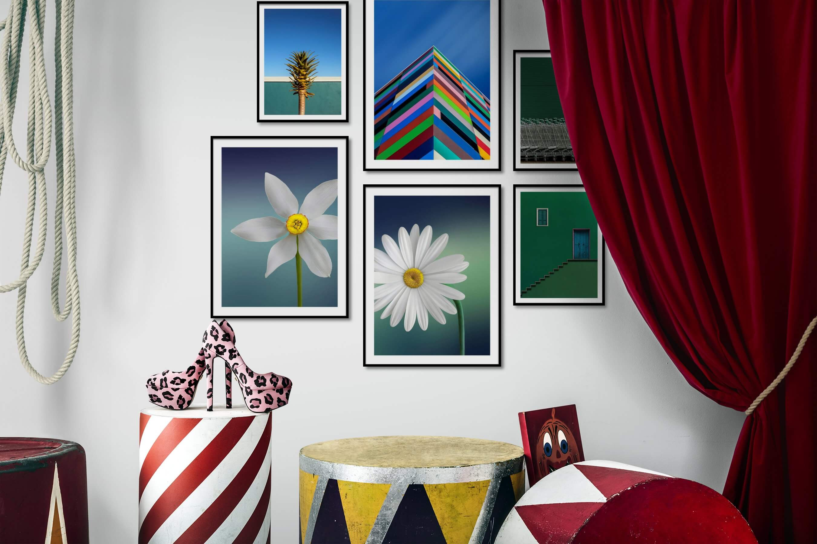 Gallery wall idea with six framed pictures arranged on a wall depicting For the Minimalist, Flowers & Plants, Colorful, and For the Moderate