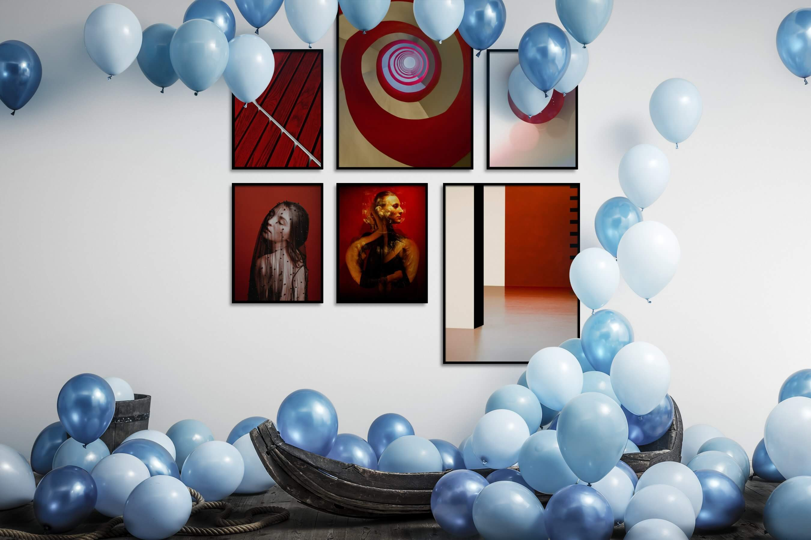 Gallery wall idea with six framed pictures arranged on a wall depicting For the Moderate, Fashion & Beauty, and Artsy