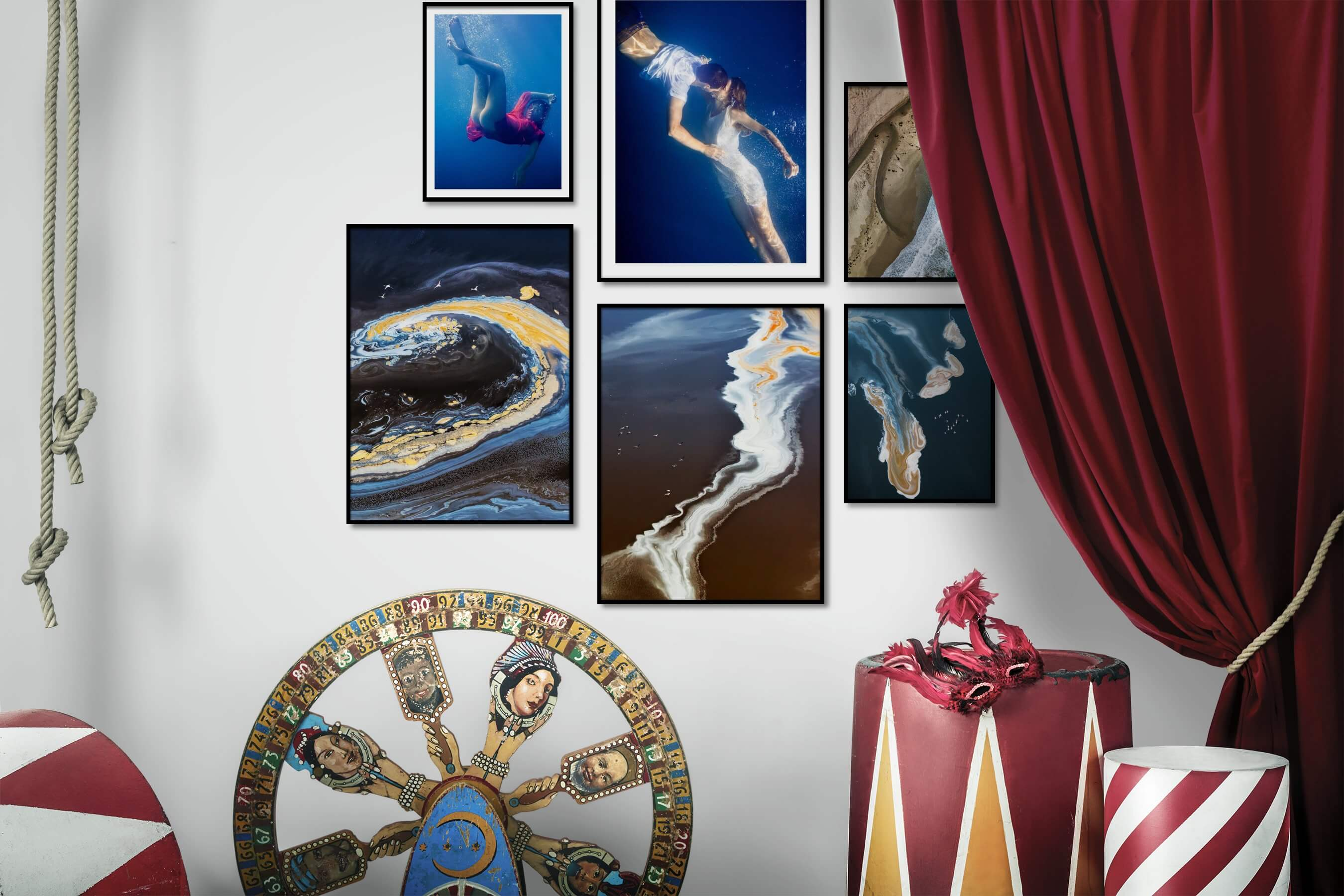 Gallery wall idea with six framed pictures arranged on a wall depicting Fashion & Beauty, Beach & Water, For the Moderate, and Nature
