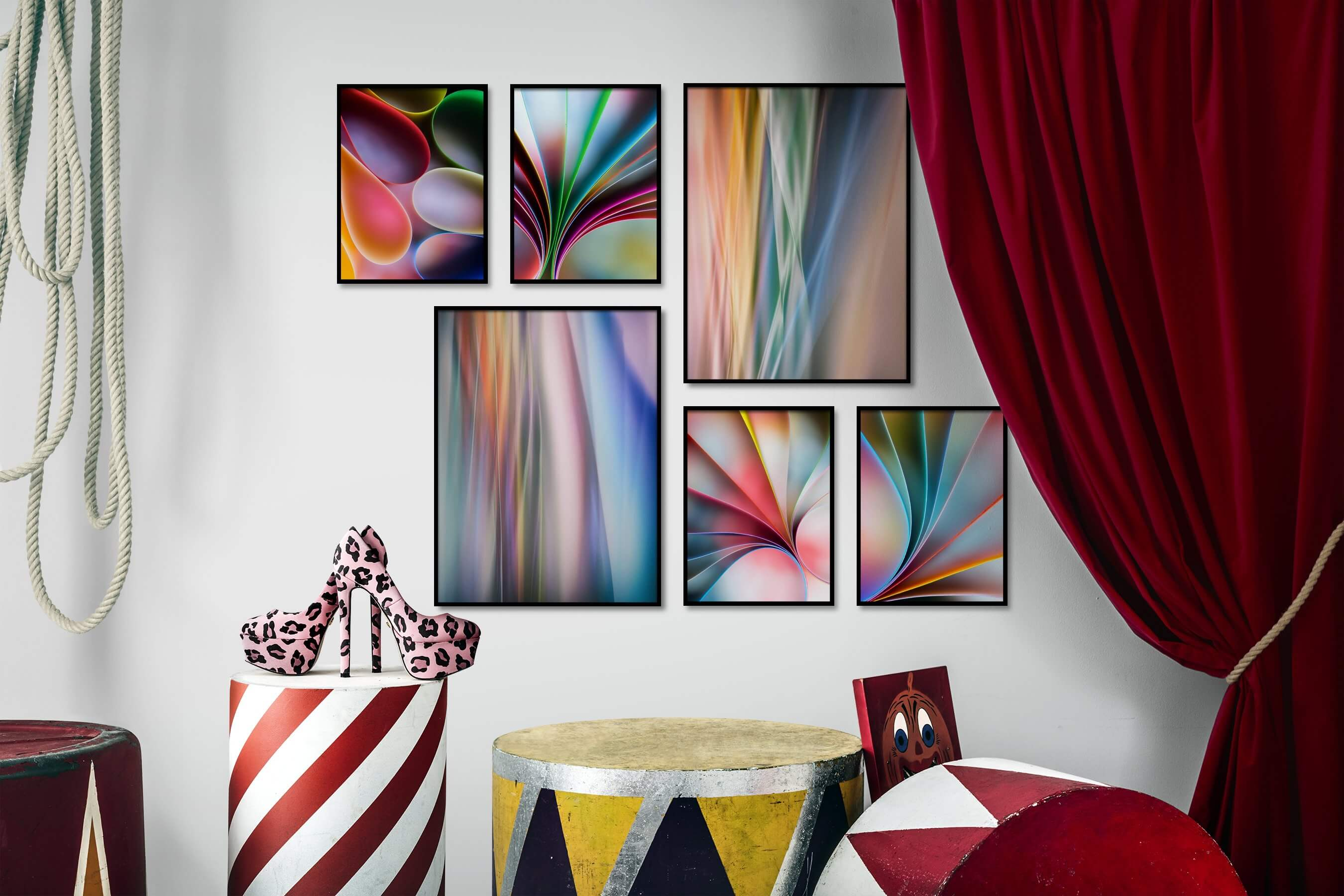 Gallery wall idea with six framed pictures arranged on a wall depicting Colorful and For the Moderate