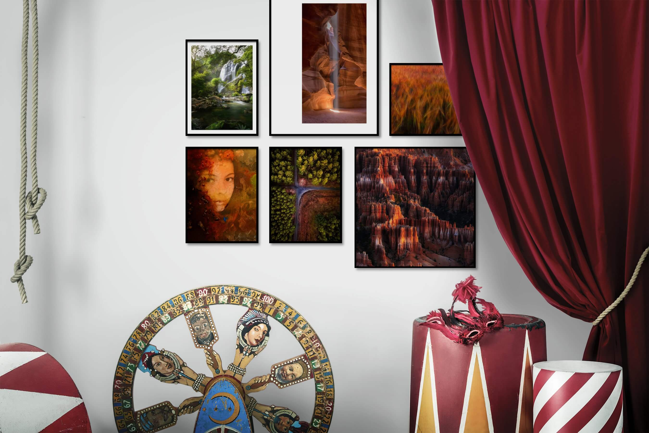 Gallery wall idea with six framed pictures arranged on a wall depicting Nature, Mindfulness, Artsy, For the Moderate, For the Maximalist, and Country Life