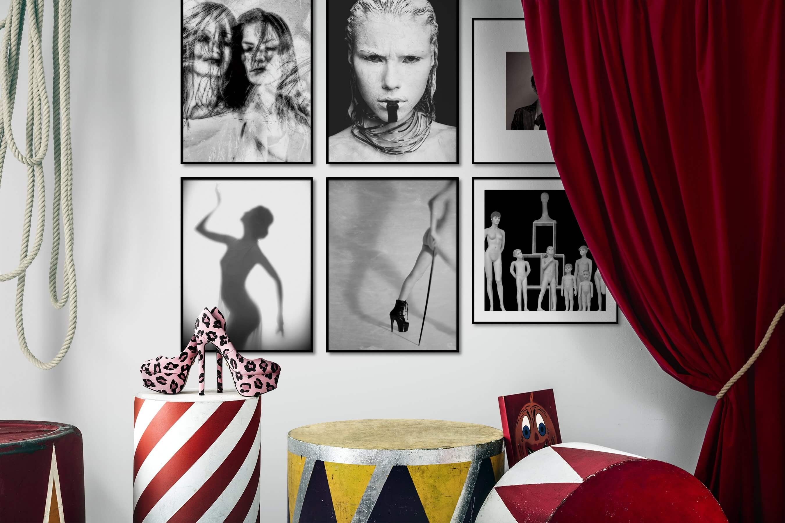 Gallery wall idea with six framed pictures arranged on a wall depicting Artsy, Black & White, Fashion & Beauty, For the Minimalist, and Vintage