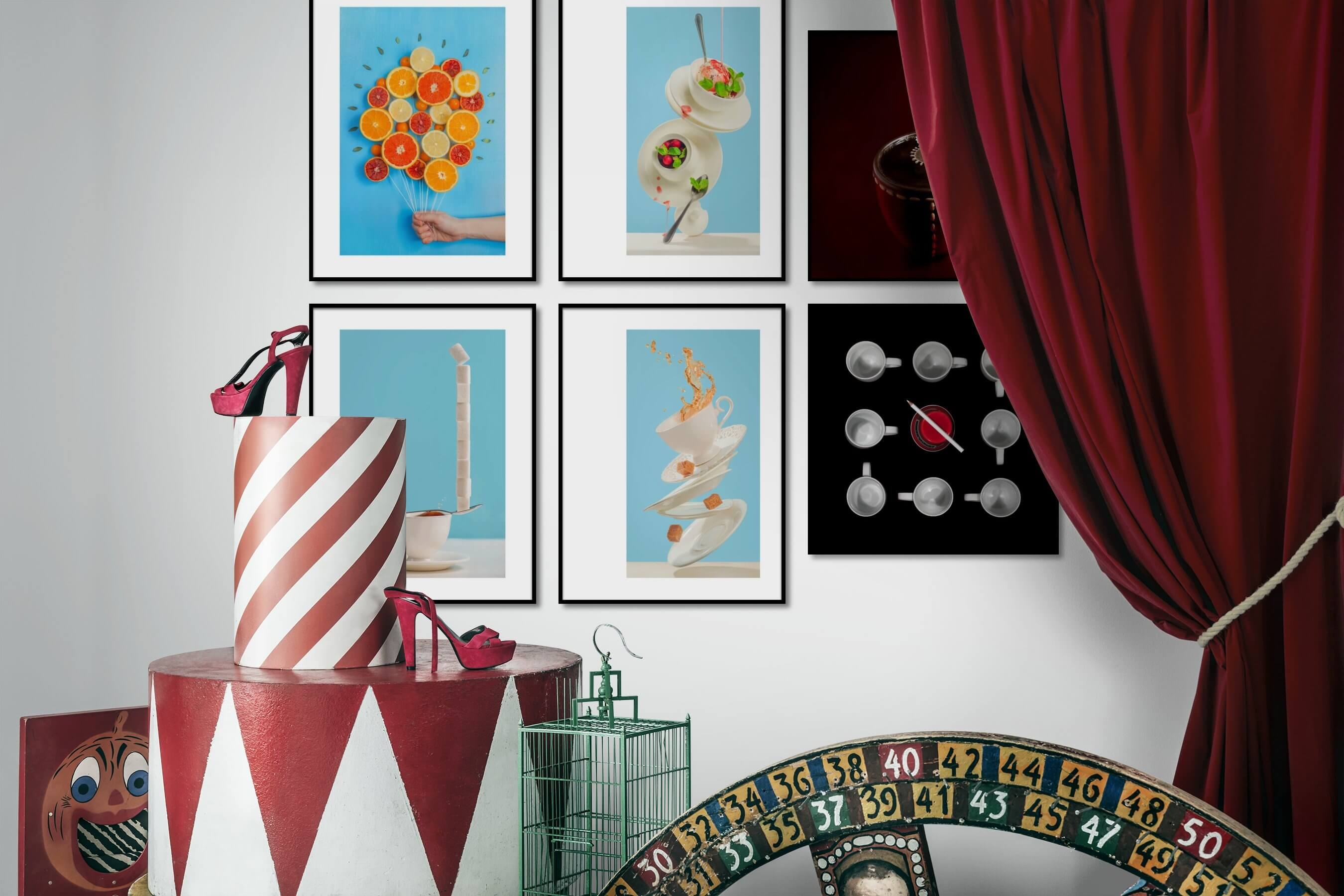 Gallery wall idea with six framed pictures arranged on a wall depicting For the Moderate, For the Minimalist, and Dark Tones