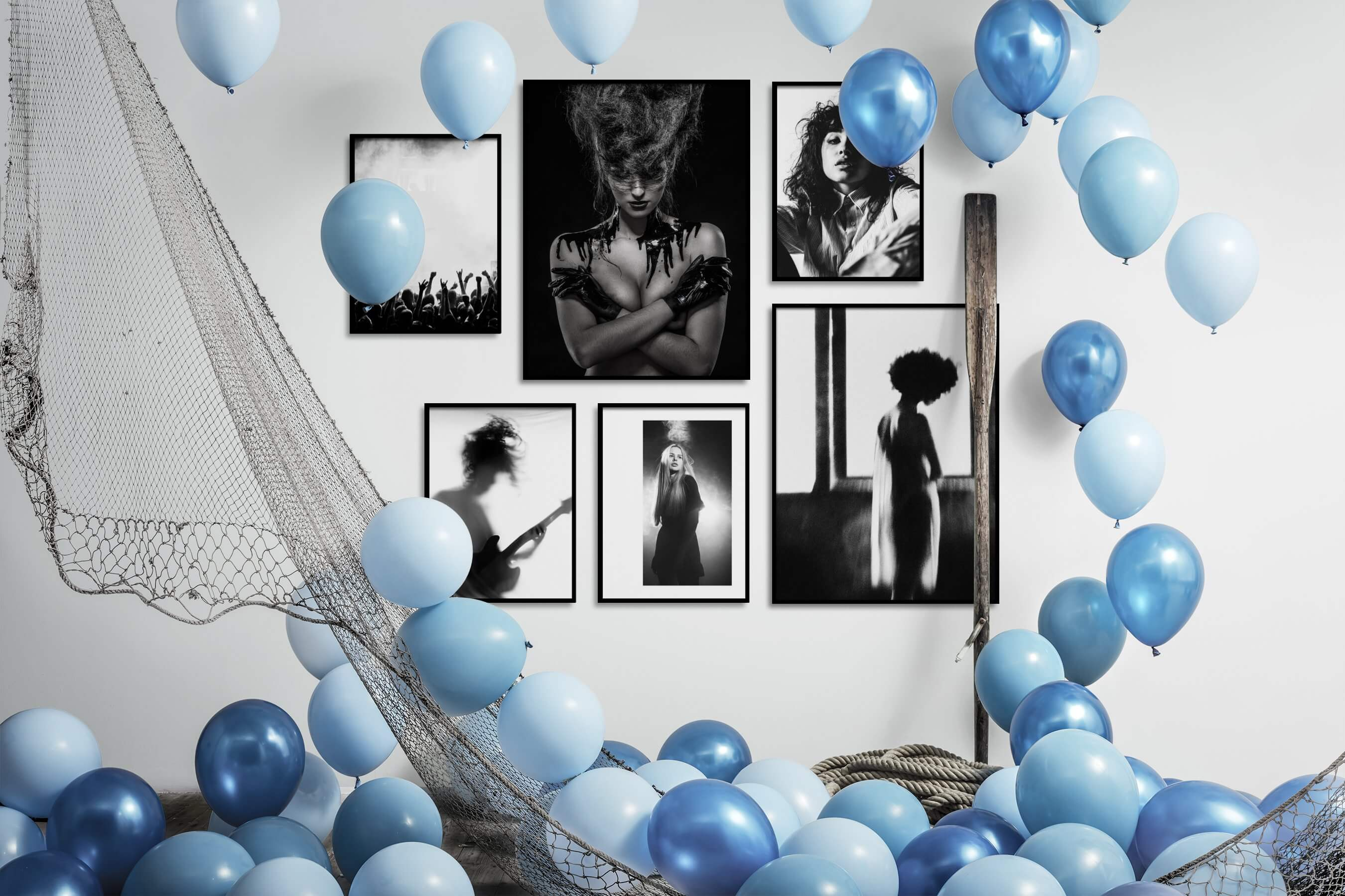 Gallery wall idea with six framed pictures arranged on a wall depicting Black & White, For the Moderate, Fashion & Beauty, and Dark Tones