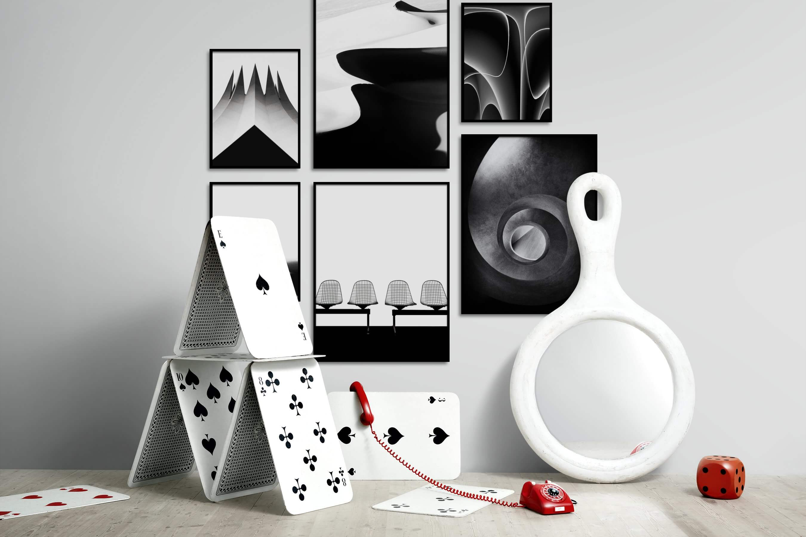 Gallery wall idea with six framed pictures arranged on a wall depicting Black & White, Bright Tones, For the Moderate, Nature, For the Minimalist, Country Life, and For the Maximalist
