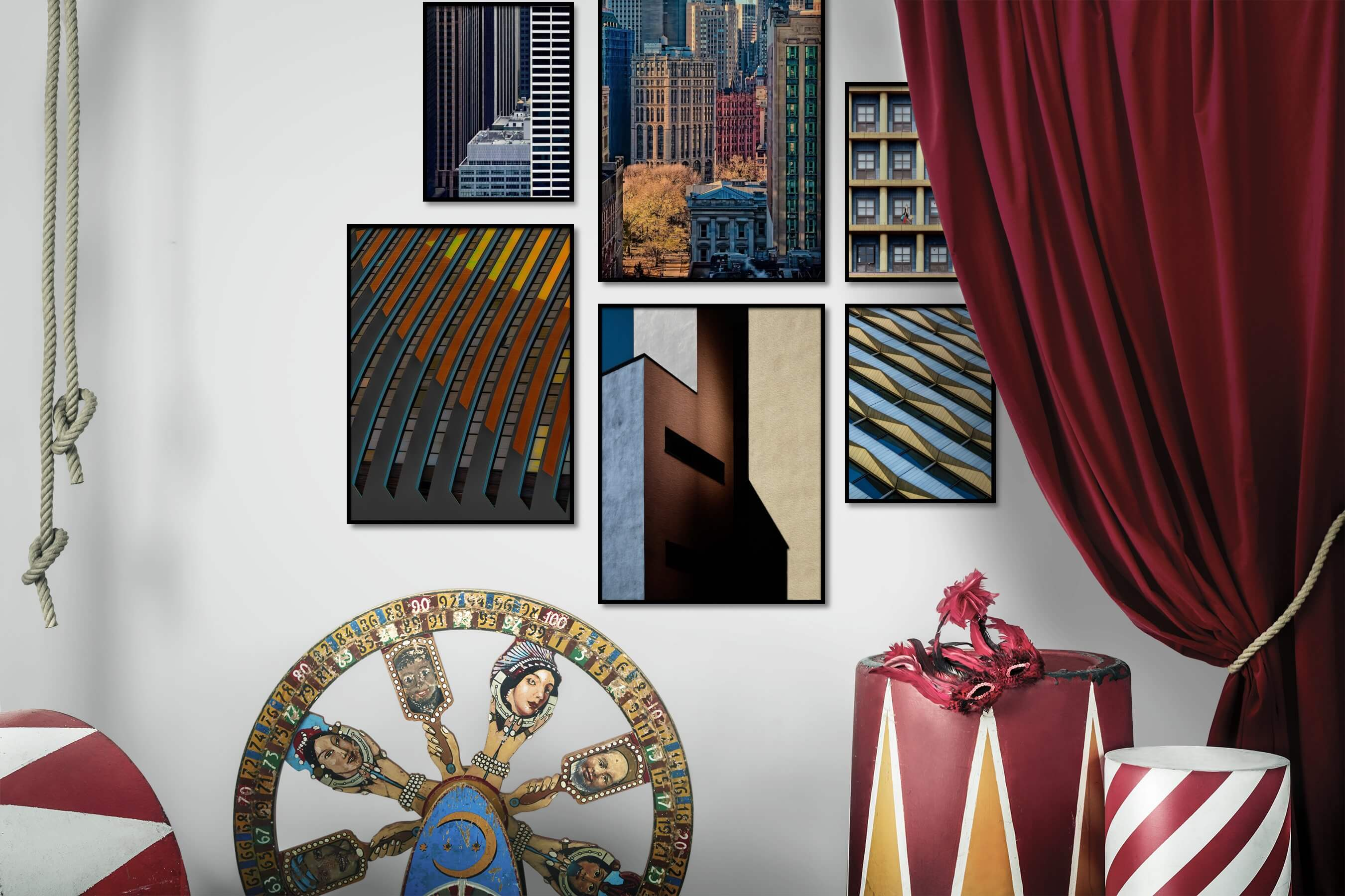 Gallery wall idea with six framed pictures arranged on a wall depicting For the Moderate, City Life, Americana, and For the Maximalist