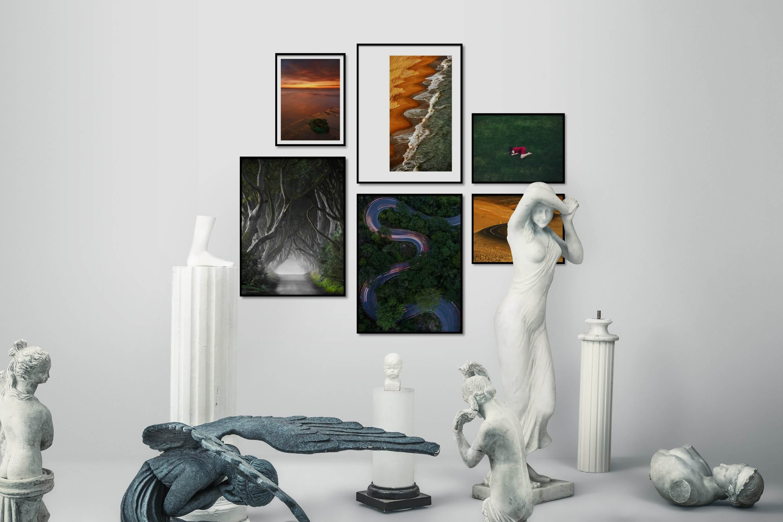 Gallery wall idea with six framed pictures arranged on a wall depicting For the Moderate, Beach & Water, Nature, Country Life, Artsy, and For the Minimalist