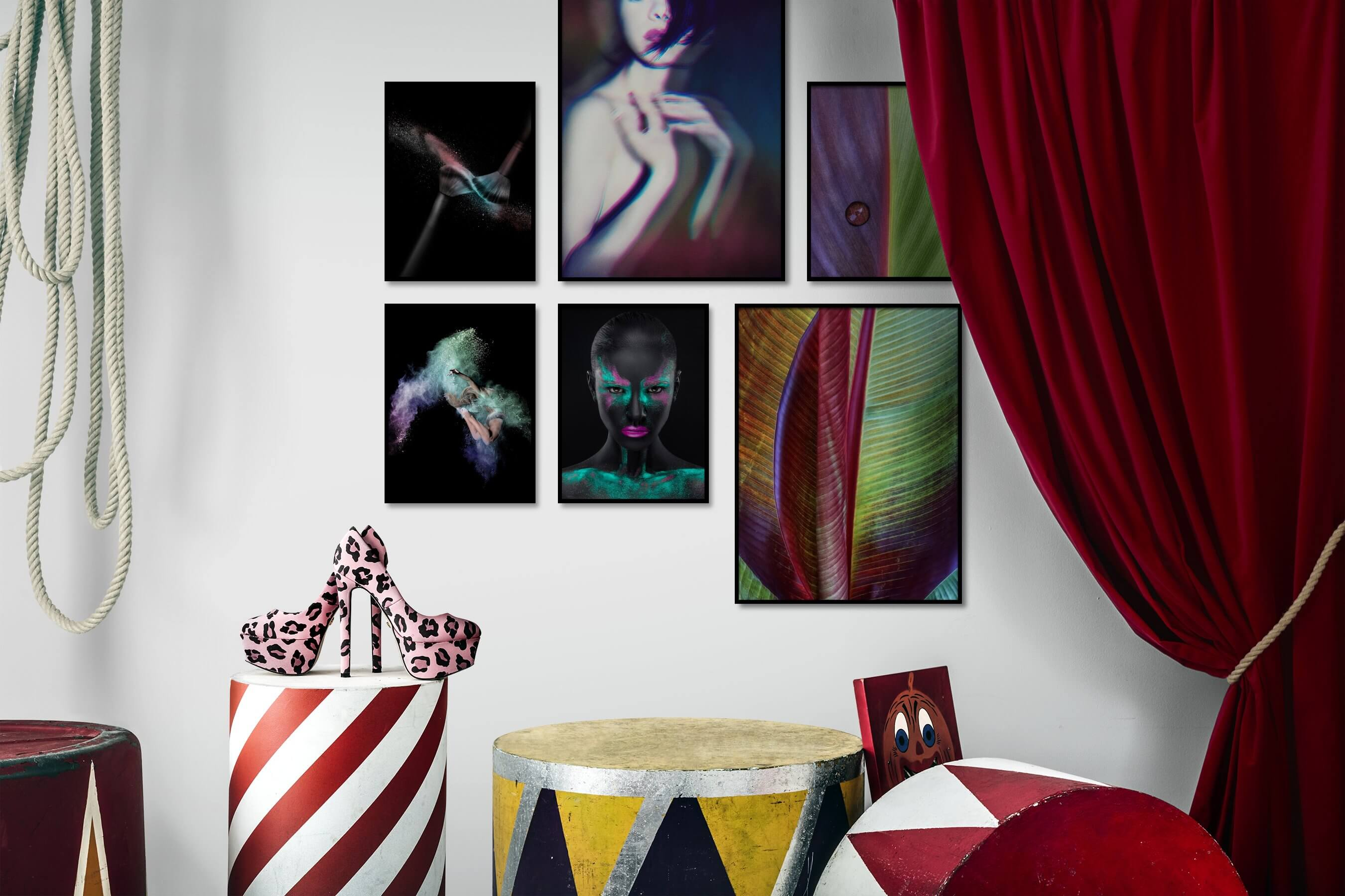 Gallery wall idea with six framed pictures arranged on a wall depicting Fashion & Beauty, Dark Tones, For the Moderate, Colorful, For the Maximalist, and Flowers & Plants