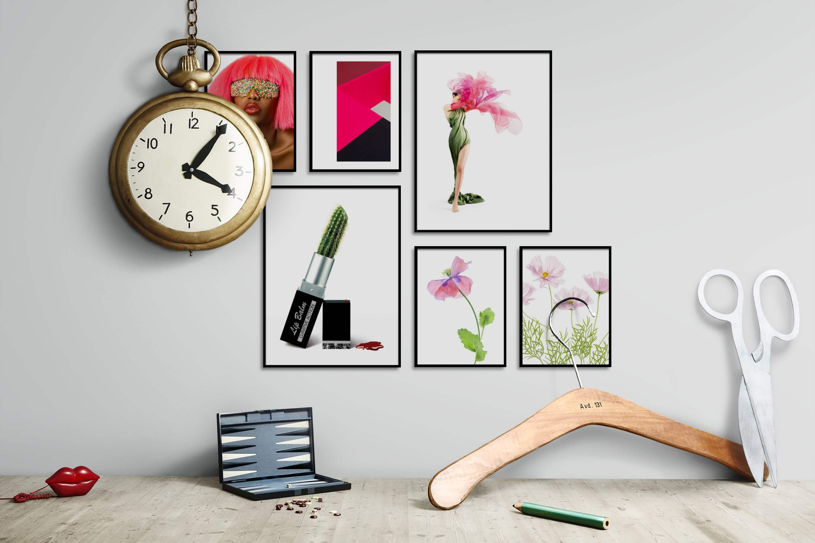 Gallery wall idea with six framed pictures arranged on a wall depicting Fashion & Beauty, Vintage, Colorful, For the Minimalist, Bright Tones, Flowers & Plants, and For the Moderate