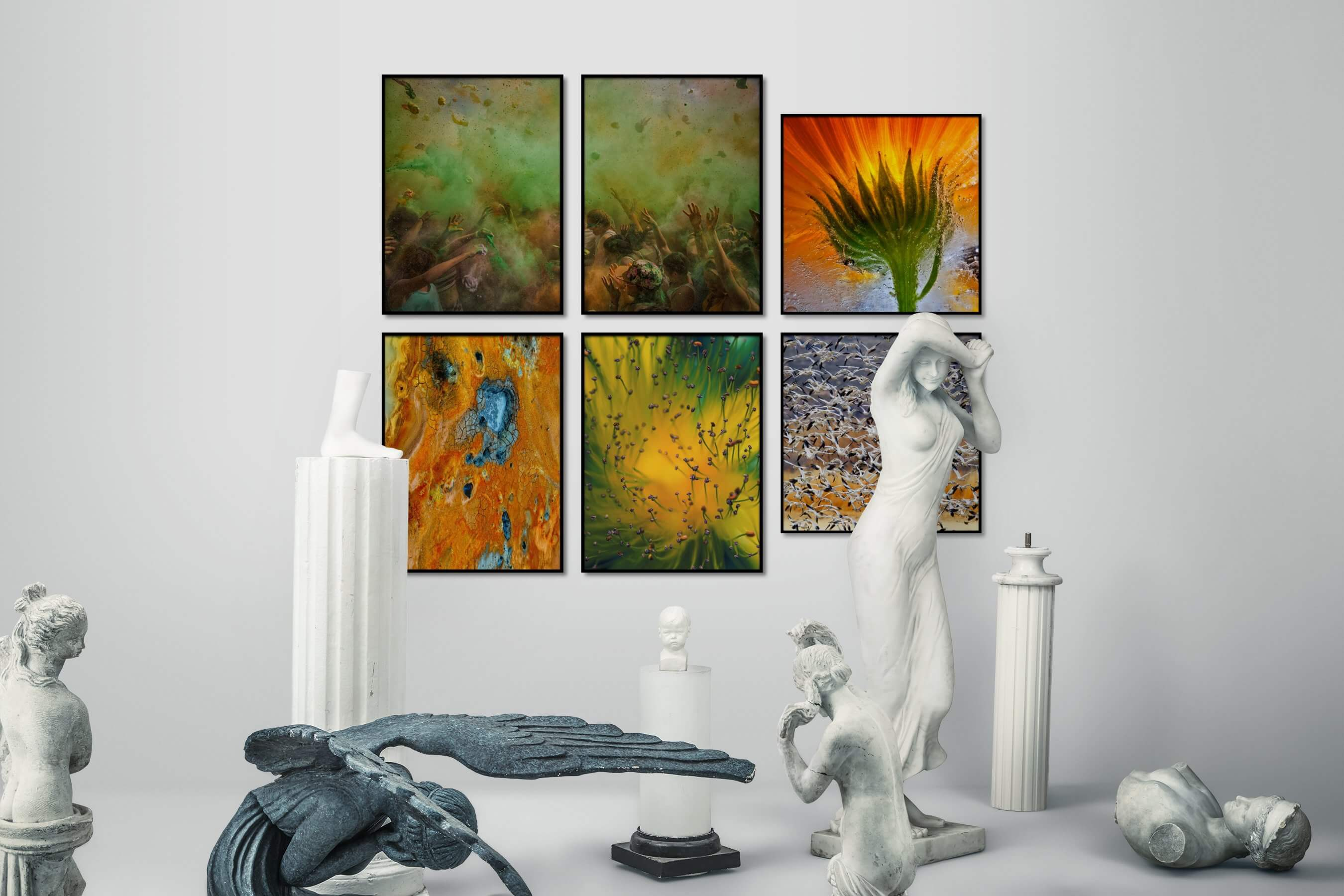 Gallery wall idea with six framed pictures arranged on a wall depicting Fashion & Beauty, For the Moderate, Colorful, For the Maximalist, Nature, Flowers & Plants, and Animals