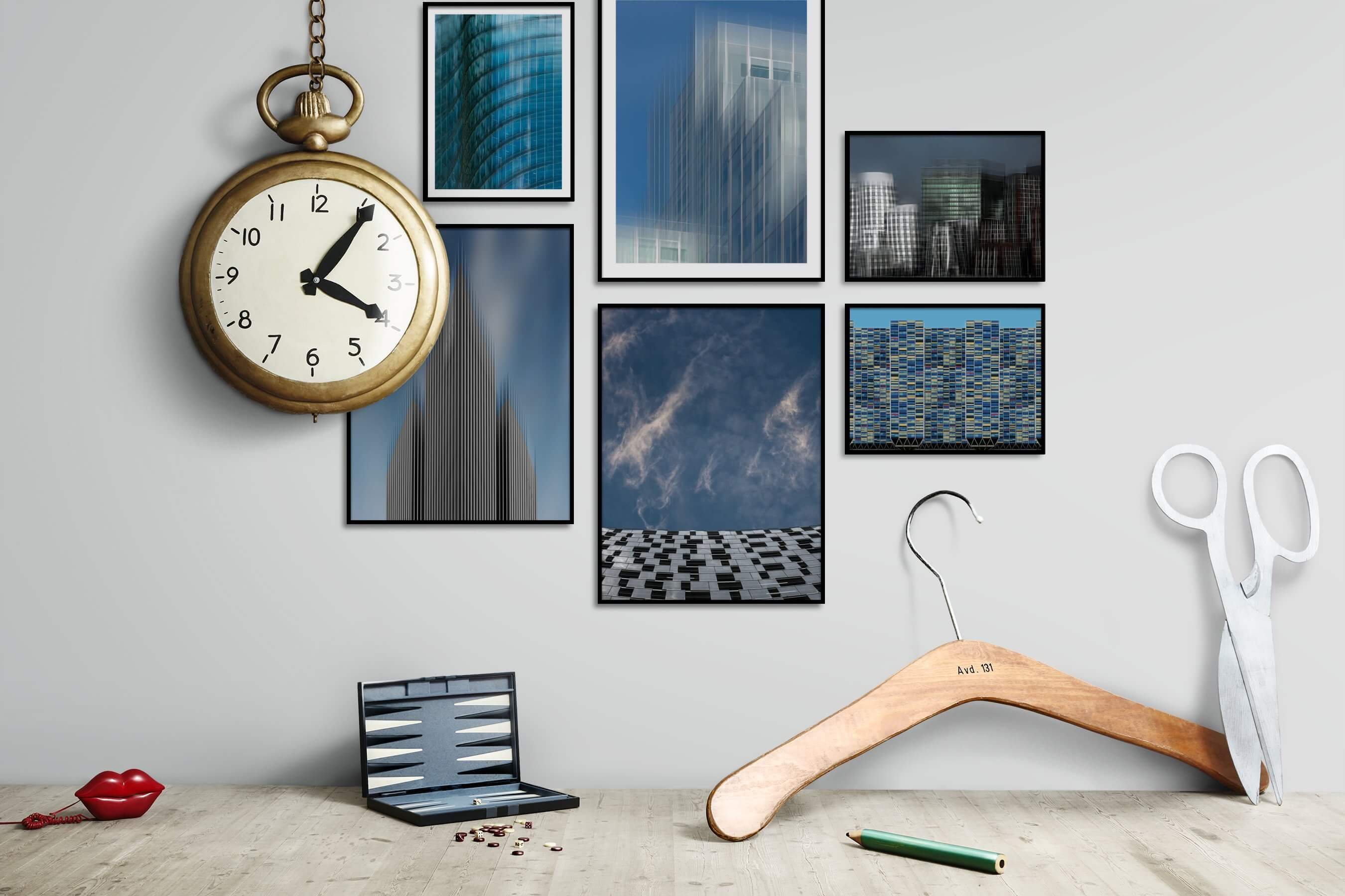 Gallery wall idea with six framed pictures arranged on a wall depicting For the Maximalist, For the Moderate, City Life, and For the Minimalist