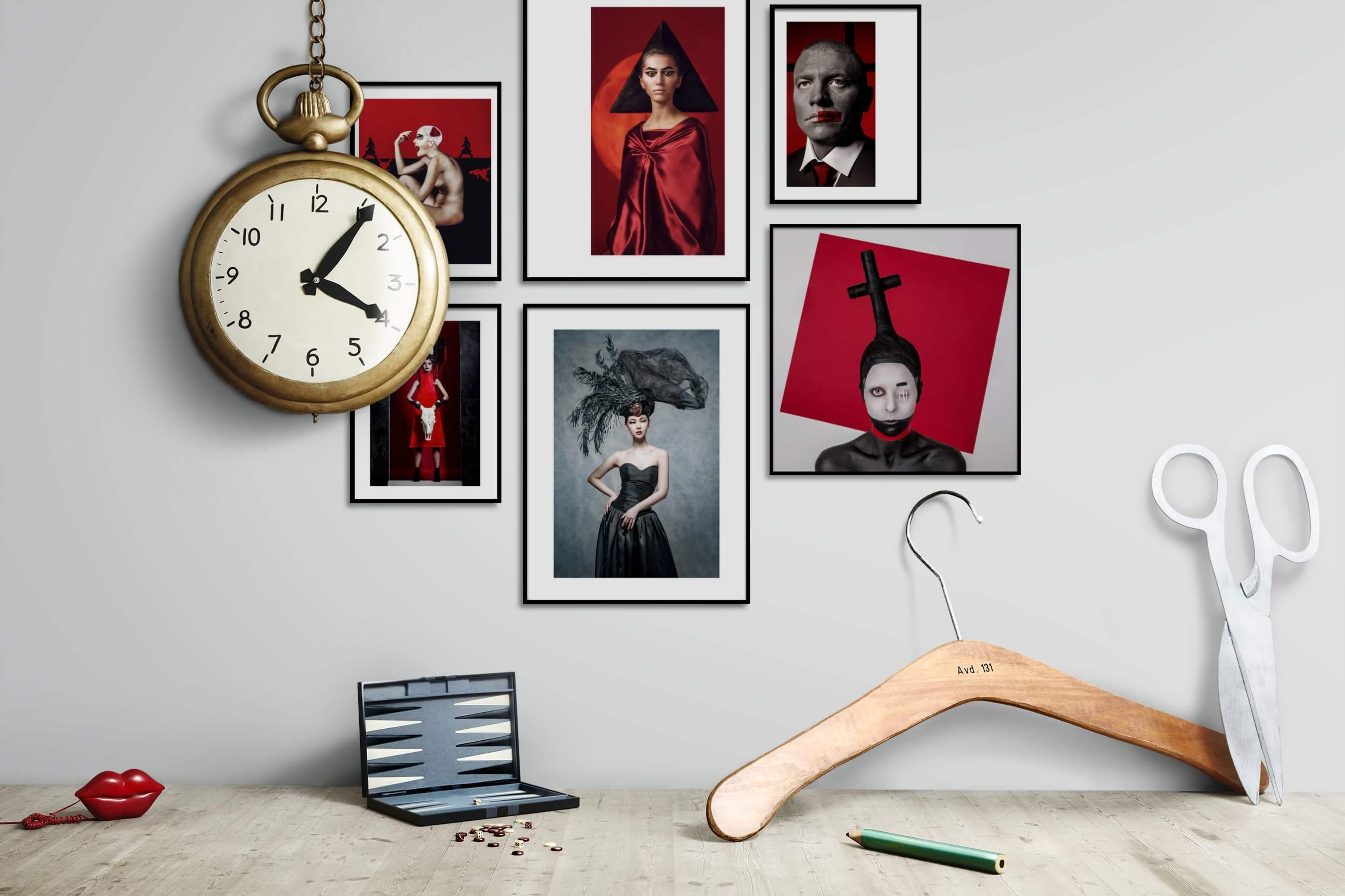 Gallery wall idea with six framed pictures arranged on a wall depicting Artsy, Bold, and Fashion & Beauty
