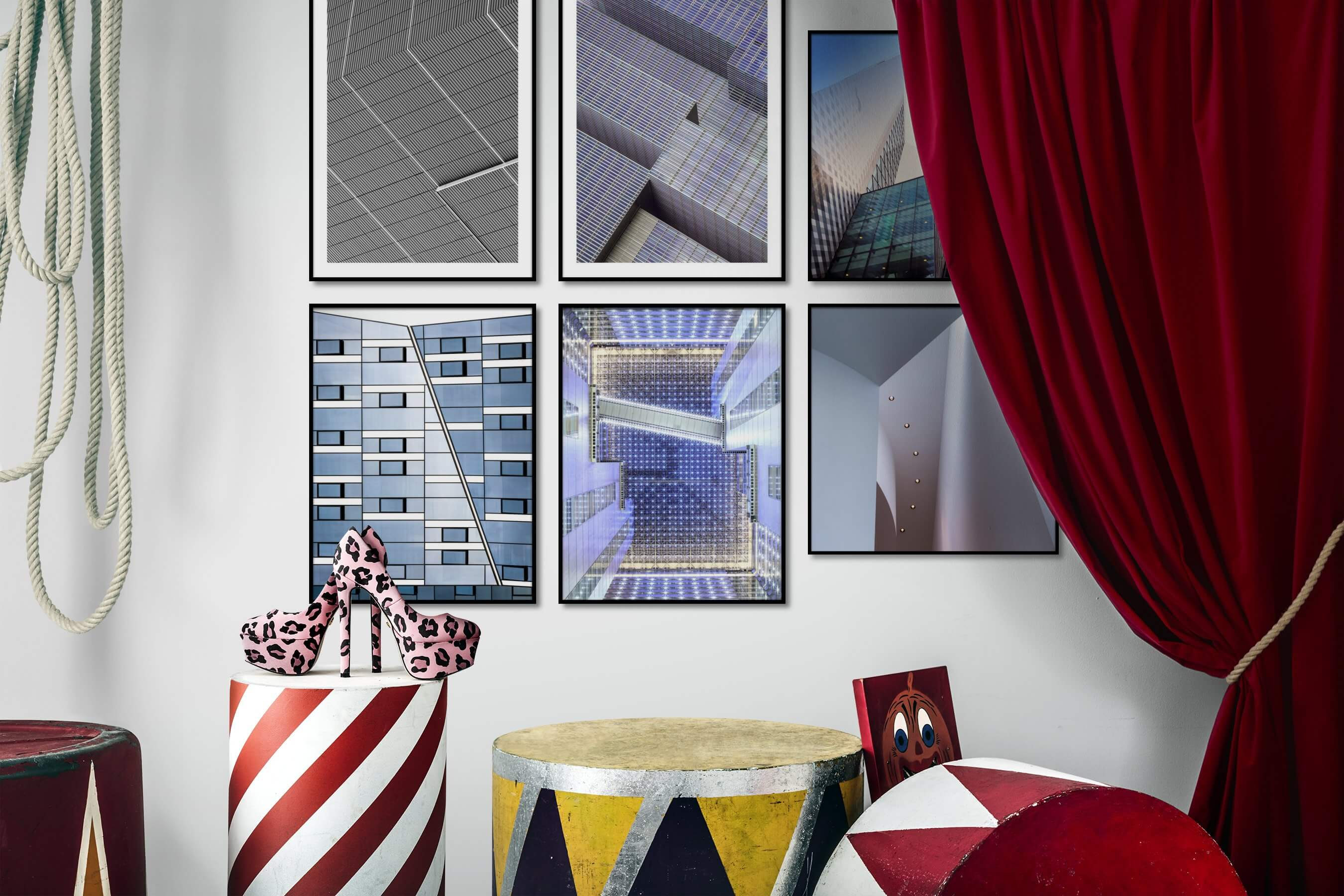Gallery wall idea with six framed pictures arranged on a wall depicting Black & White, For the Maximalist, For the Moderate, and City Life