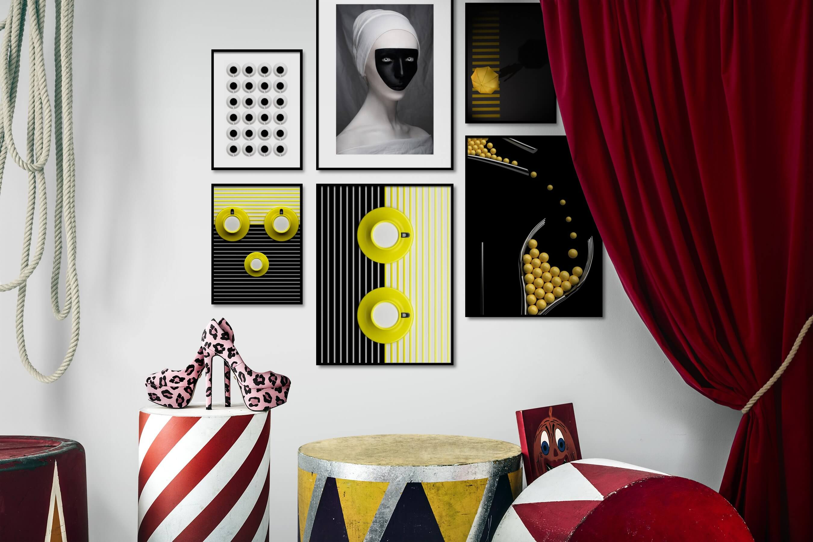 Gallery wall idea with six framed pictures arranged on a wall depicting Bright Tones, For the Minimalist, Artsy, For the Maximalist, Dark Tones, and City Life