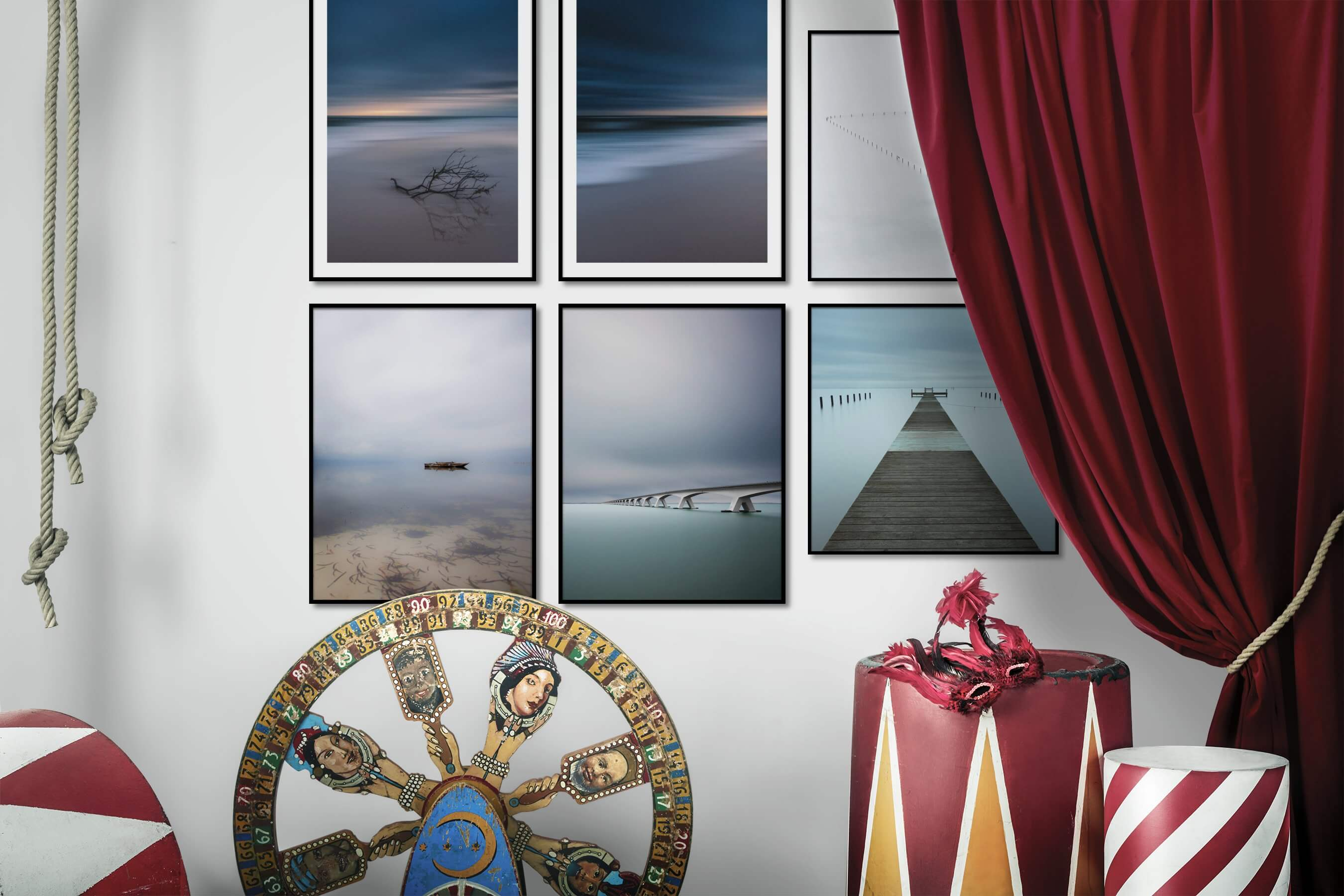 Gallery wall idea with six framed pictures arranged on a wall depicting For the Minimalist, Beach & Water, and Mindfulness