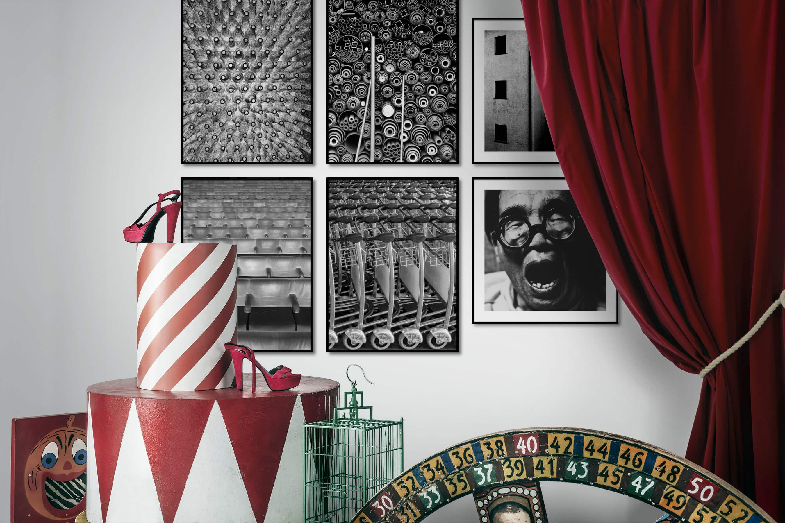 Gallery wall idea with six framed pictures arranged on a wall depicting Black & White, For the Maximalist, Vintage, For the Moderate, Artsy, and City Life