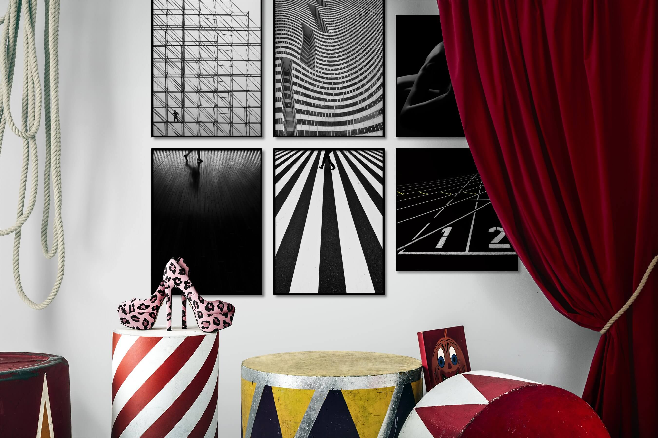 Gallery wall idea with six framed pictures arranged on a wall depicting Black & White, For the Moderate, For the Maximalist, City Life, Dark Tones, For the Minimalist, Artsy, and Fashion & Beauty